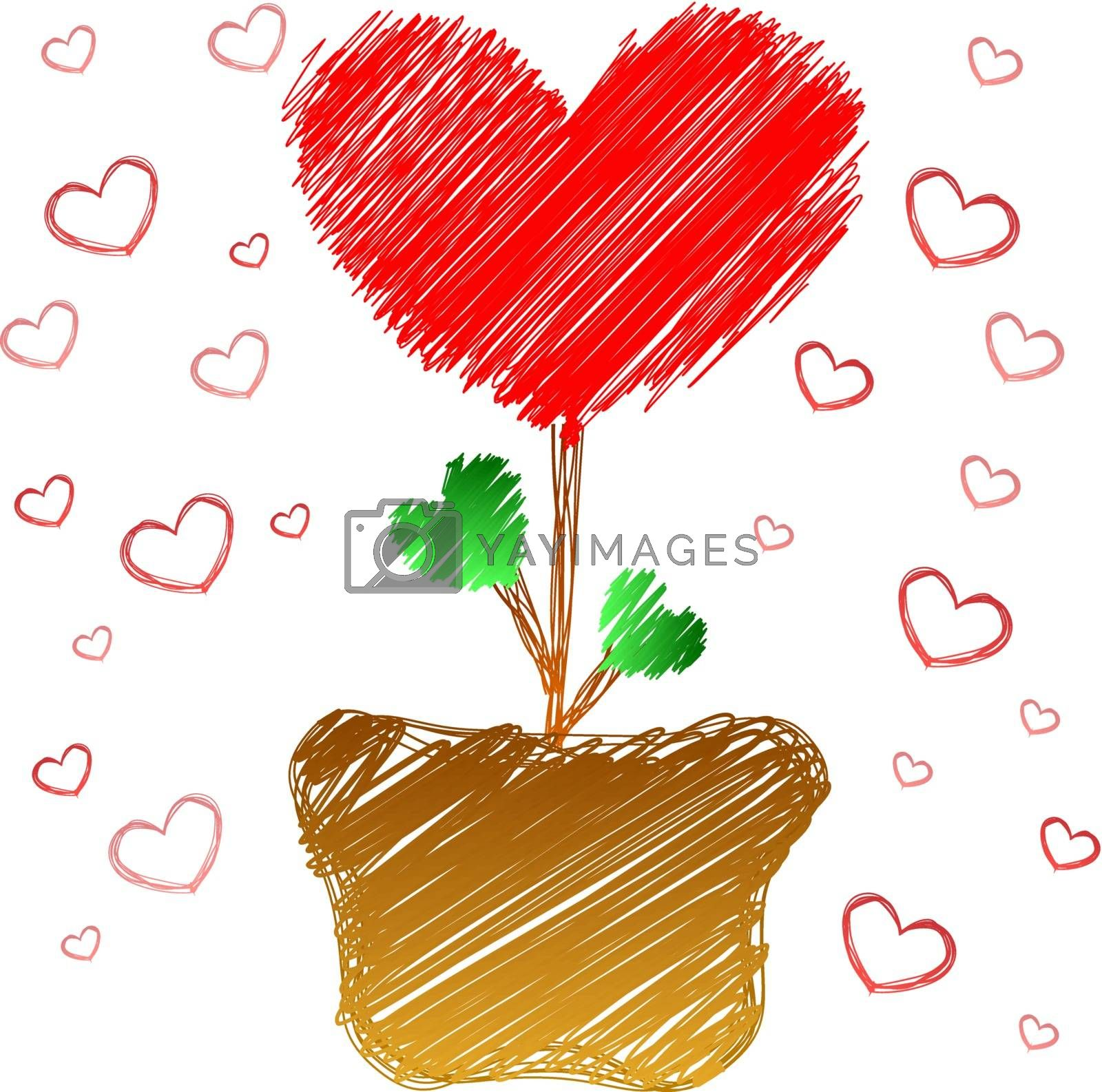 Heart tree in doodle style isolated on white background