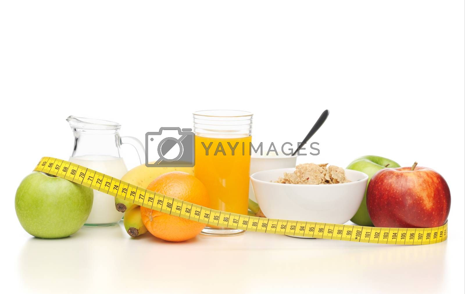 healthy breakfast and measuring tape by dolgachov