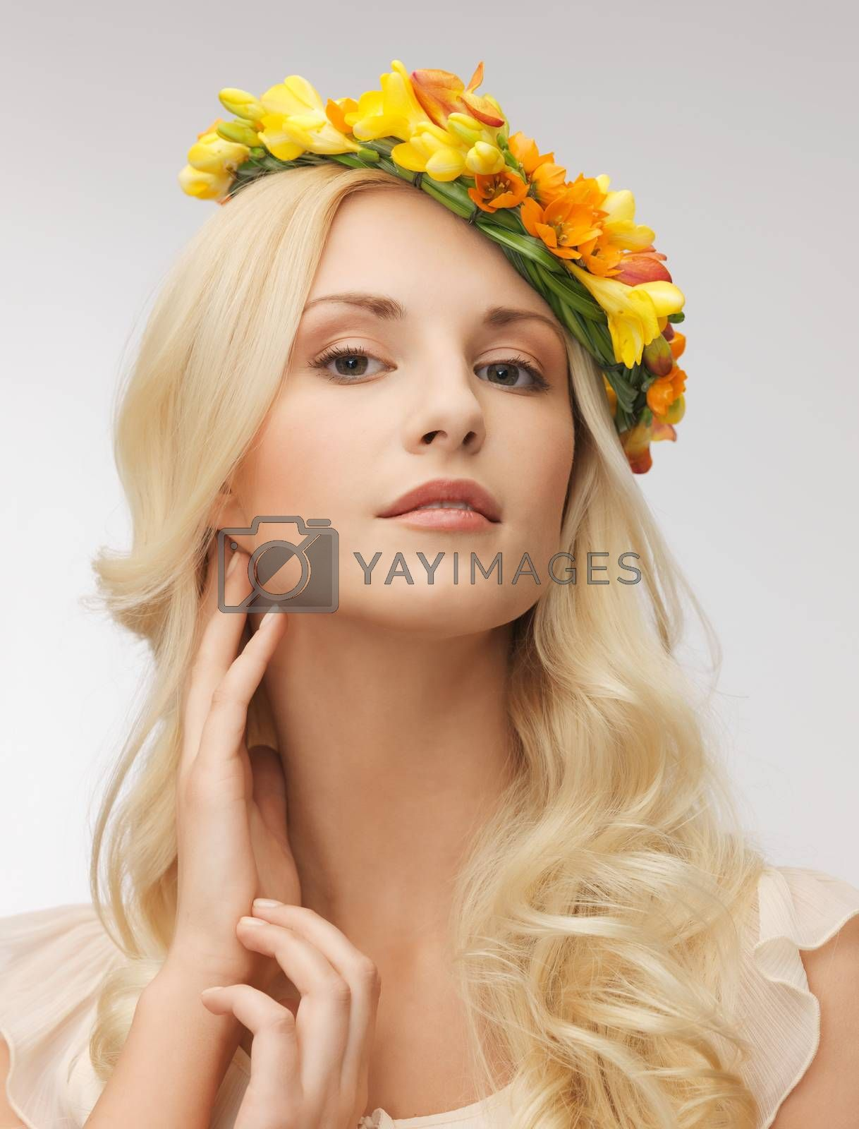 woman wearing wreath of flowers by dolgachov