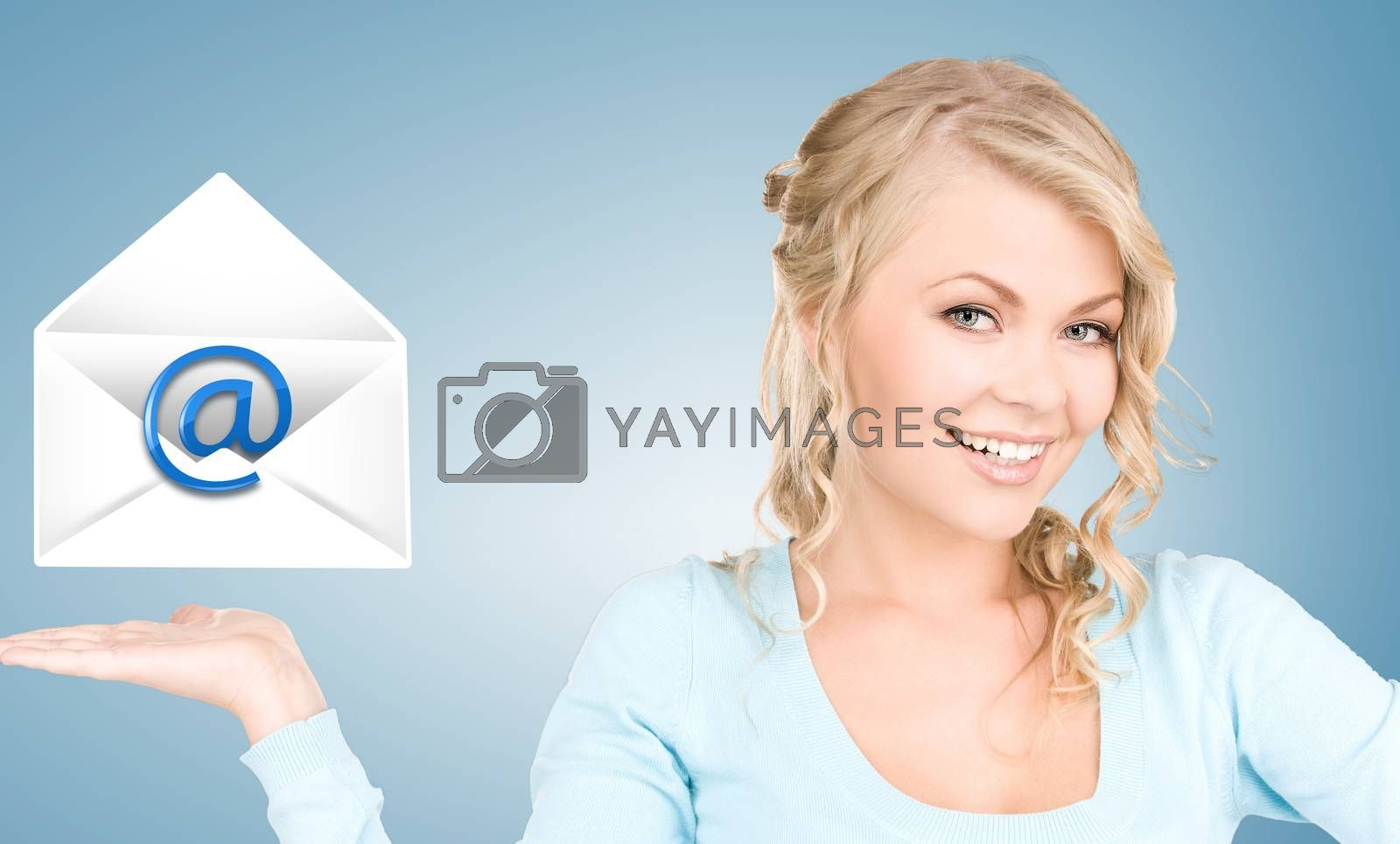 woman showing virtual envelope by dolgachov