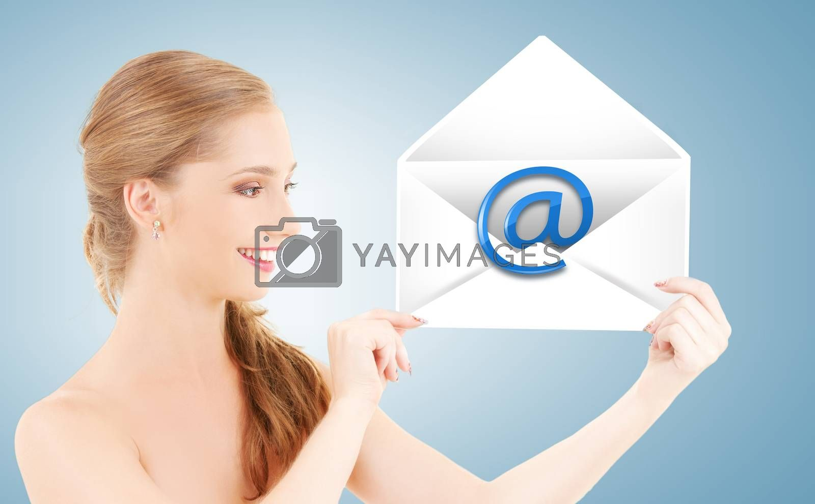 woman showing virtual envelope by dolgachov