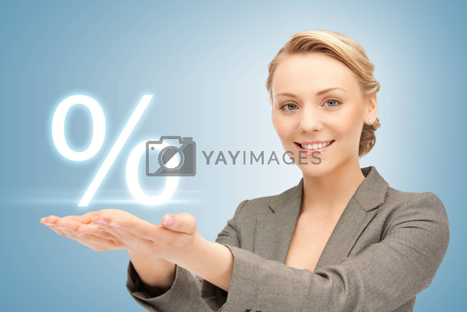 woman showing sign of percent in her hands by dolgachov