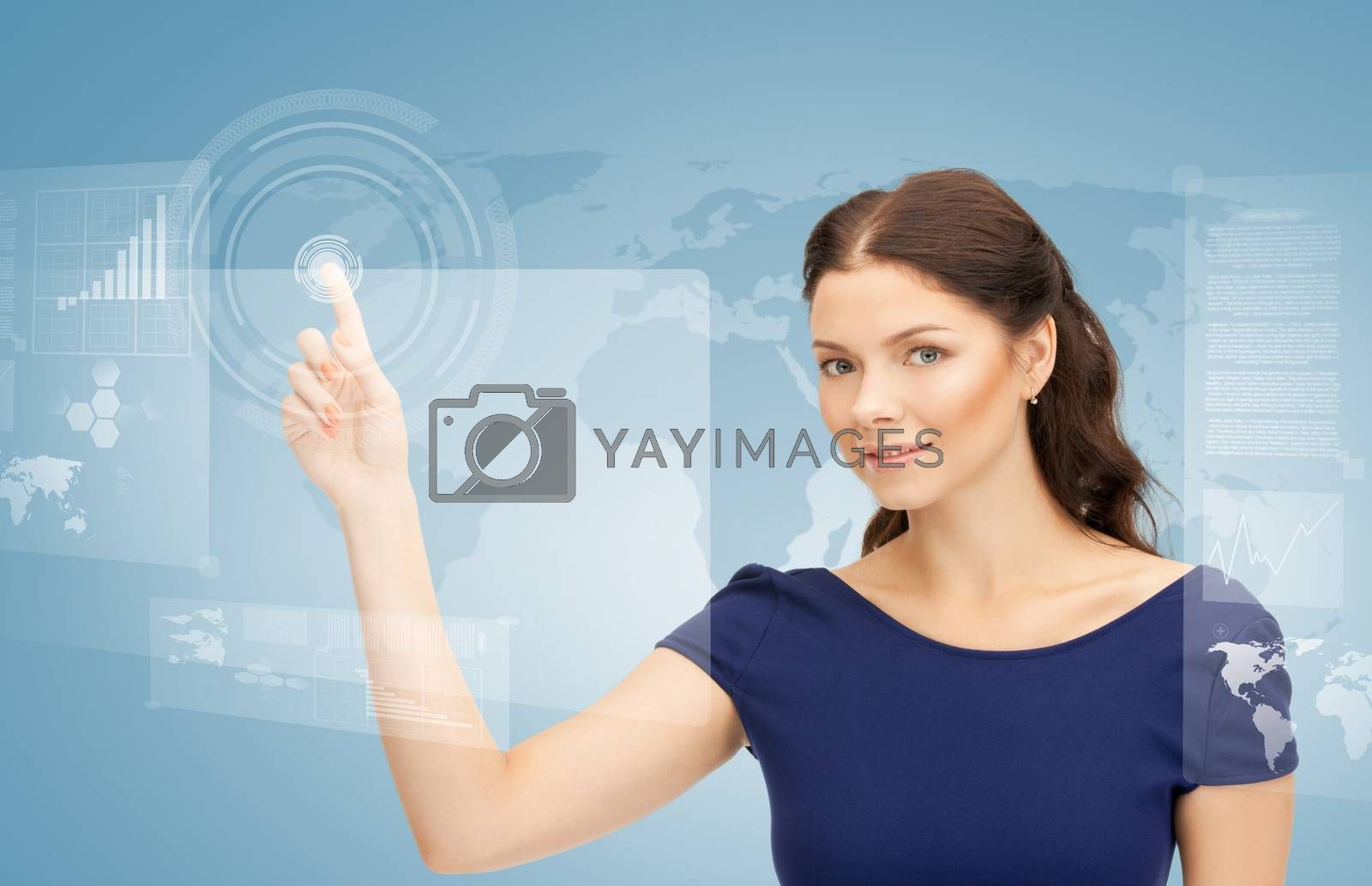 businesswoman touching virtual screen by dolgachov