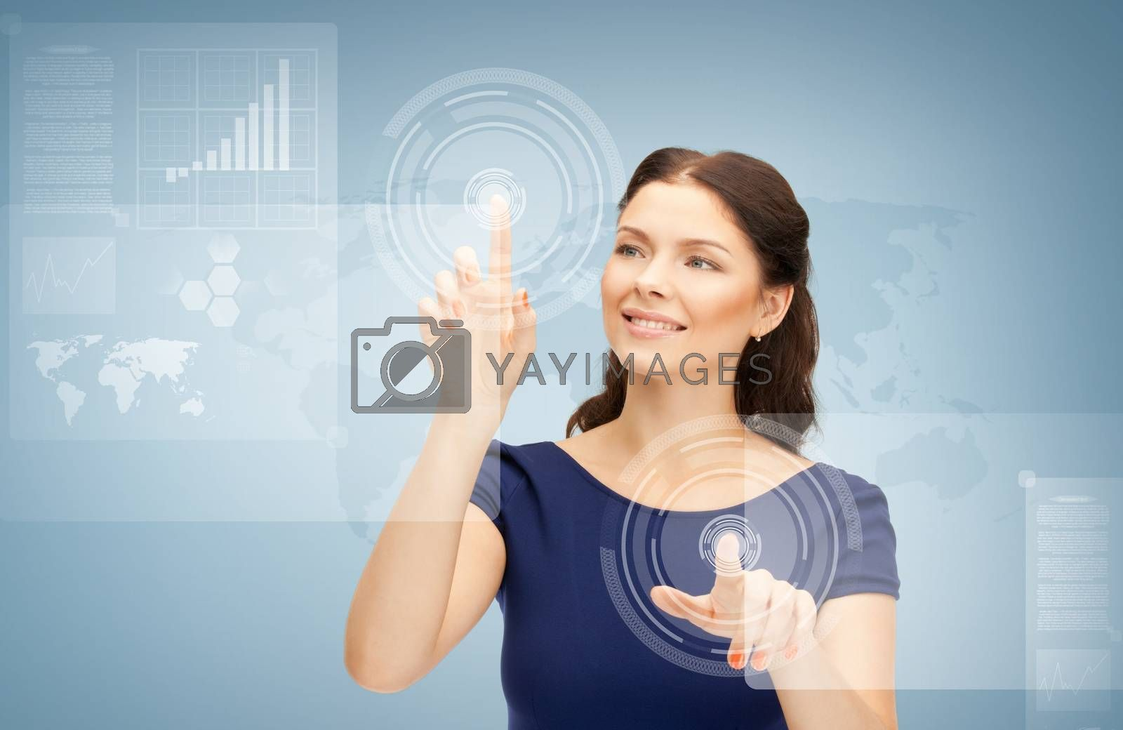businesswoman touching virtual screen by dolgachov
