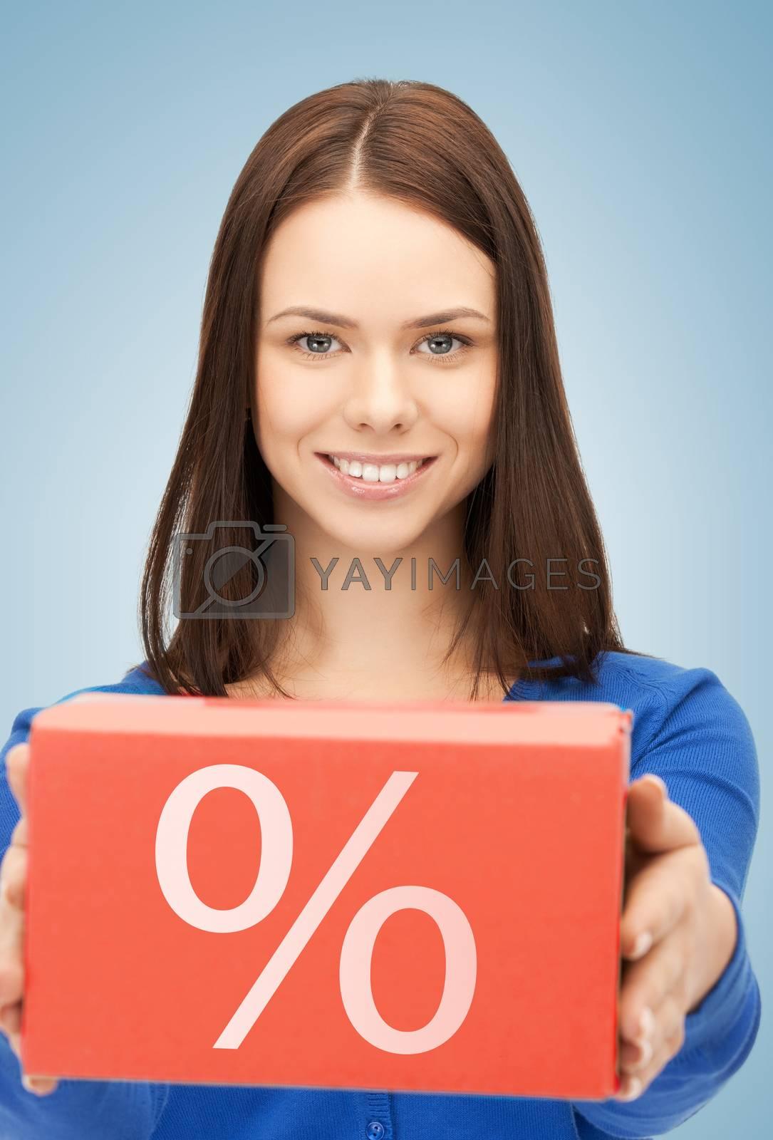 woman with big percent box by dolgachov