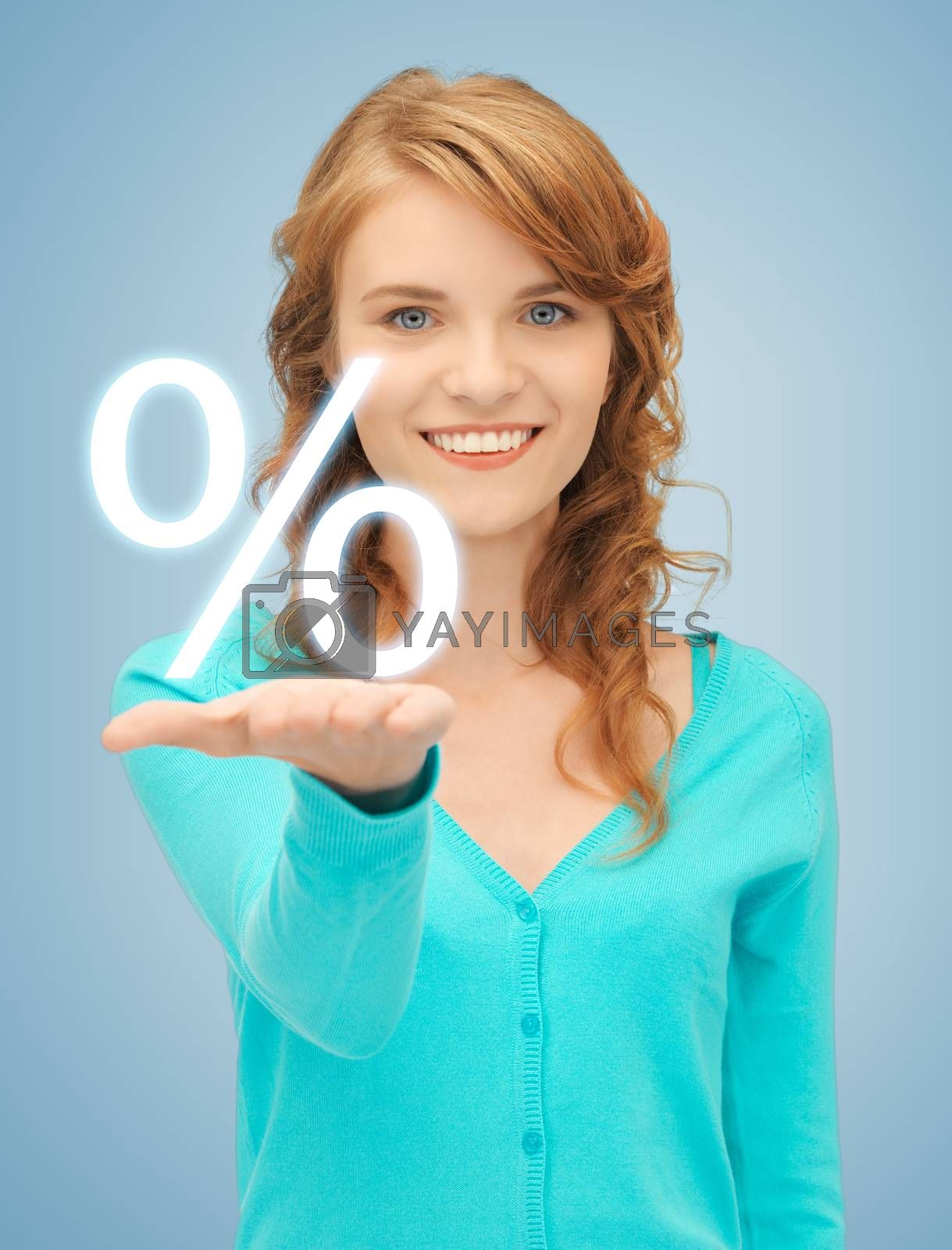 girl showing sign of percent in her hand by dolgachov