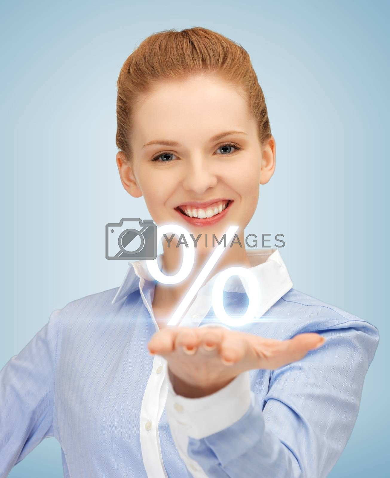 woman showing sign of percent in her hand by dolgachov