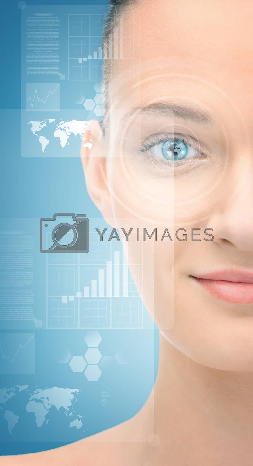 woman eye with virtual screen by dolgachov