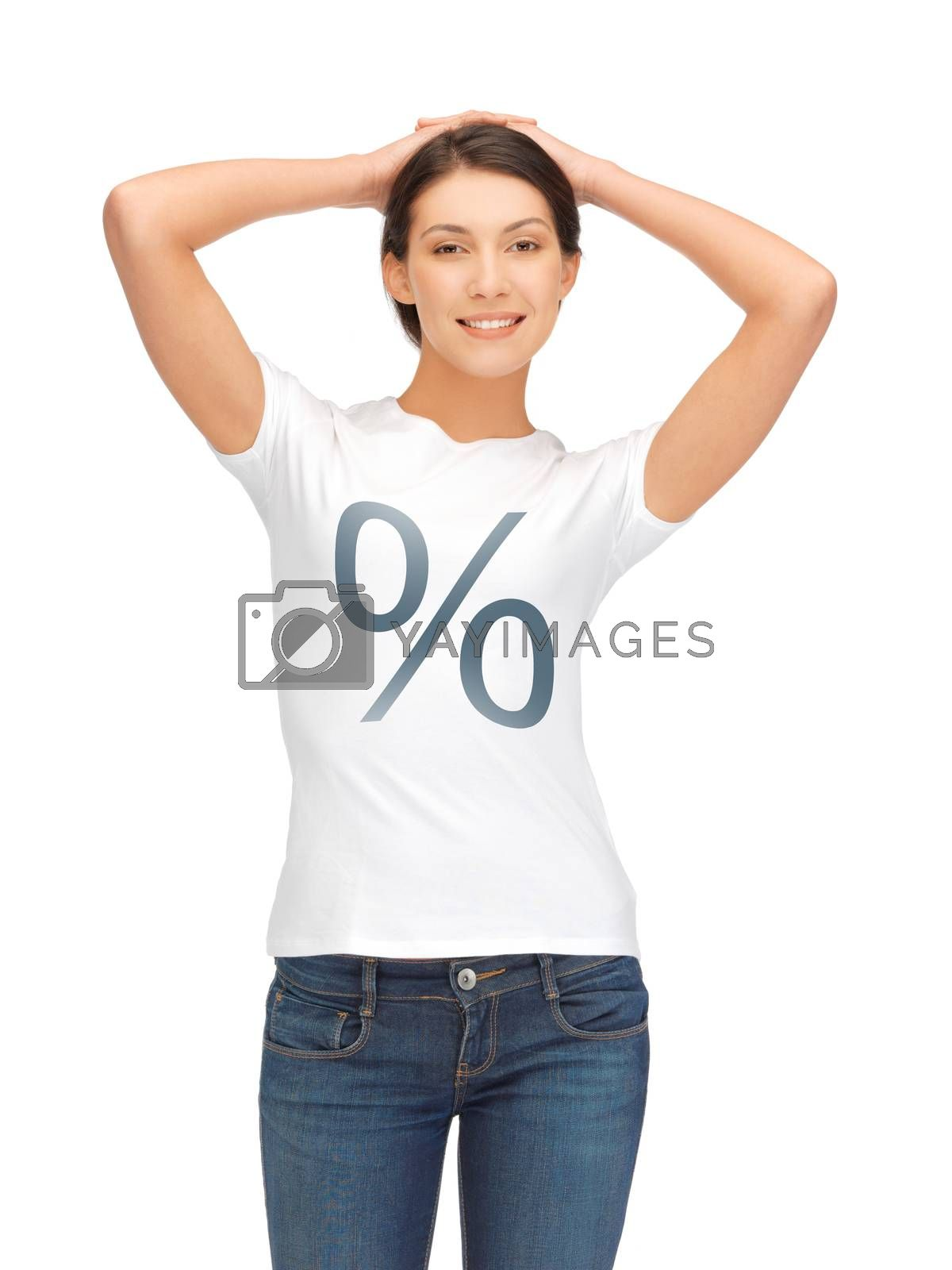 woman in shirt with percent sign by dolgachov