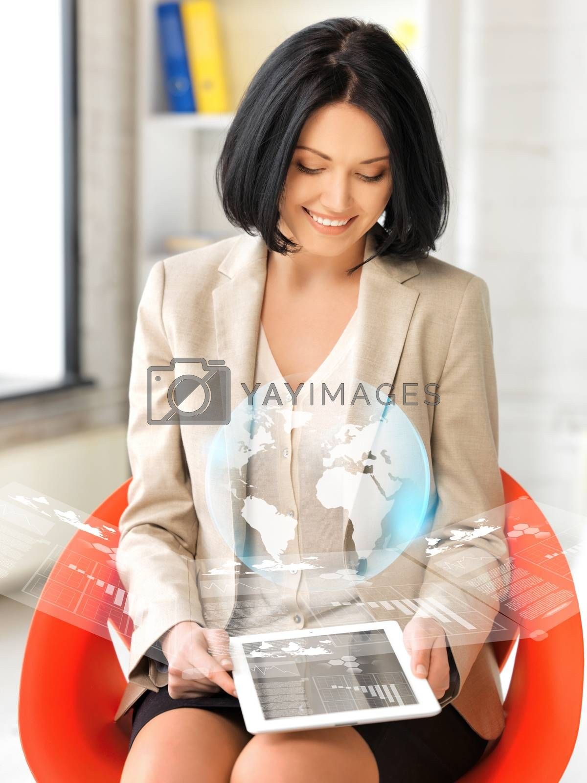 woman with tablet pc and virtual screen by dolgachov