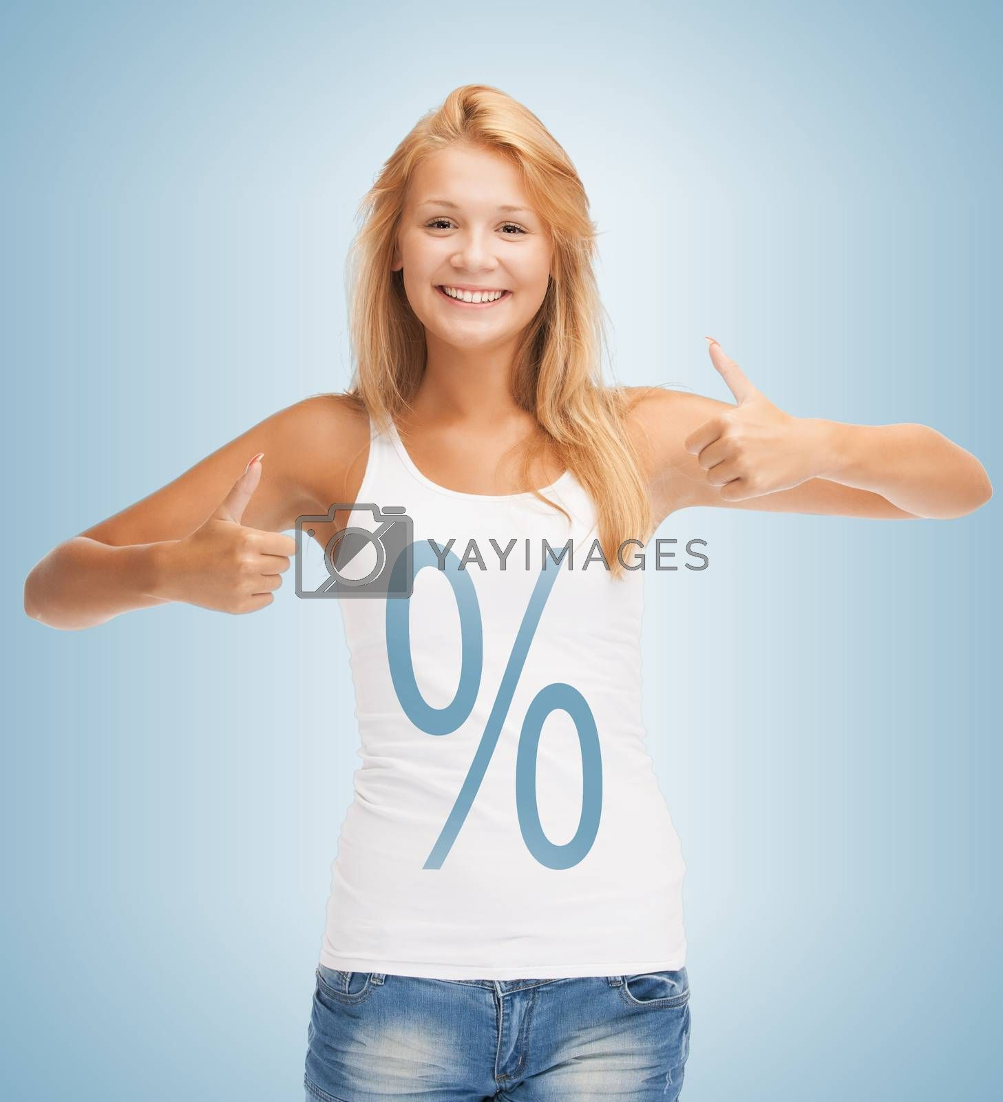 girl pointing at percent sign by dolgachov