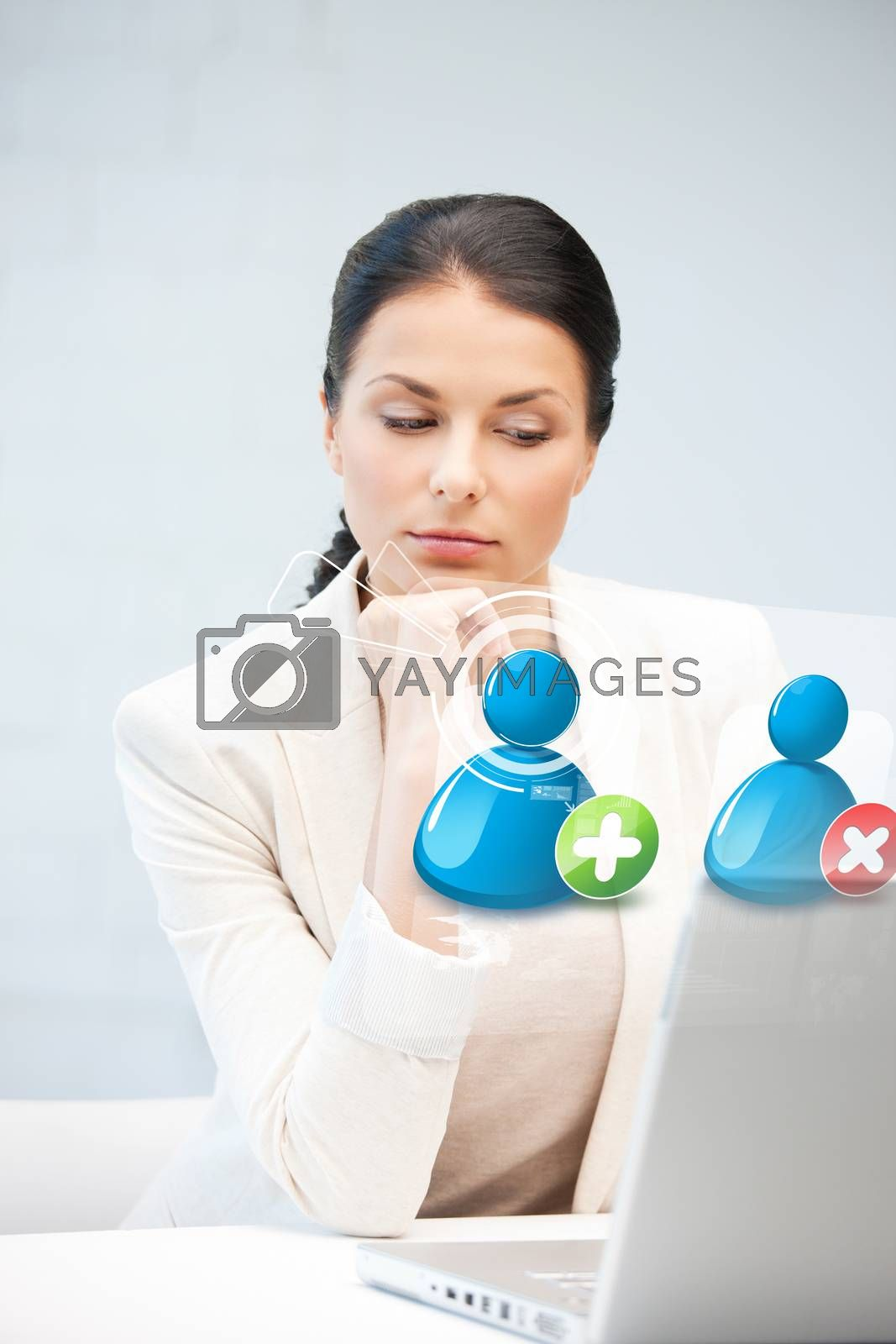 woman with laptop and contact icon by dolgachov
