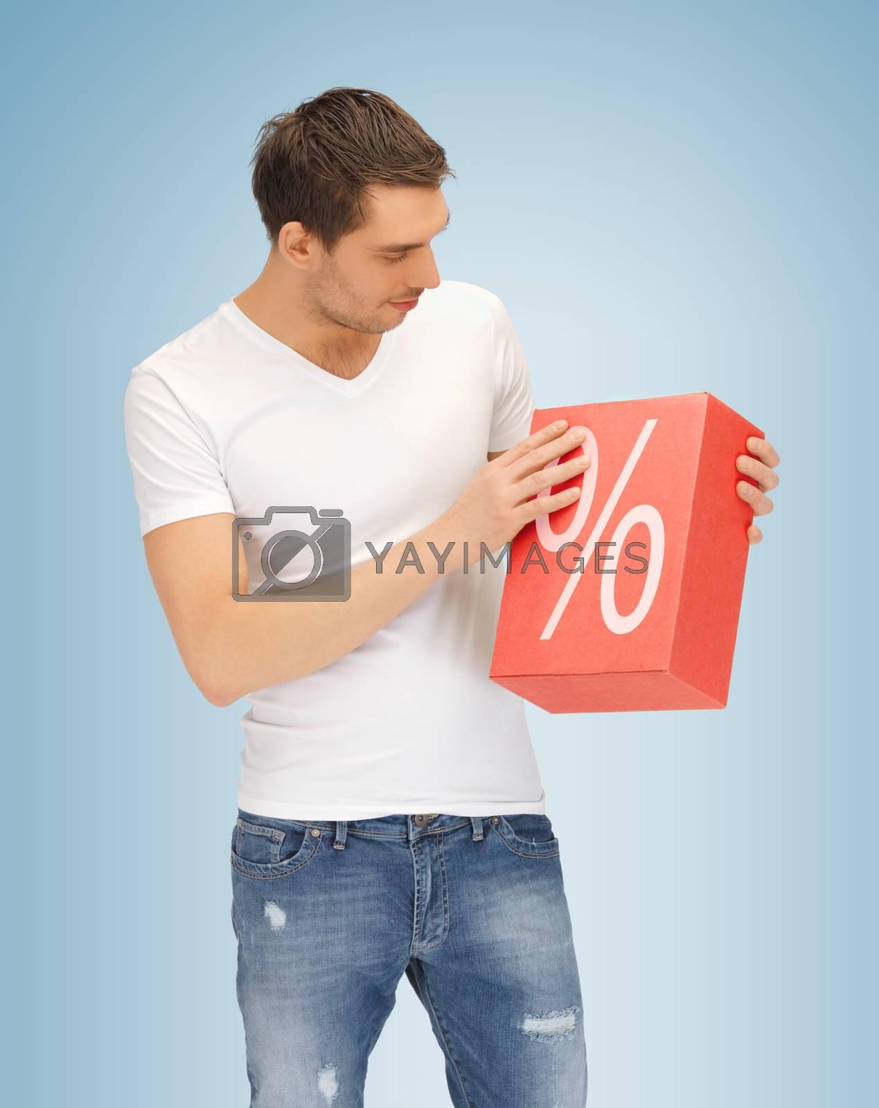 man with big percent box by dolgachov