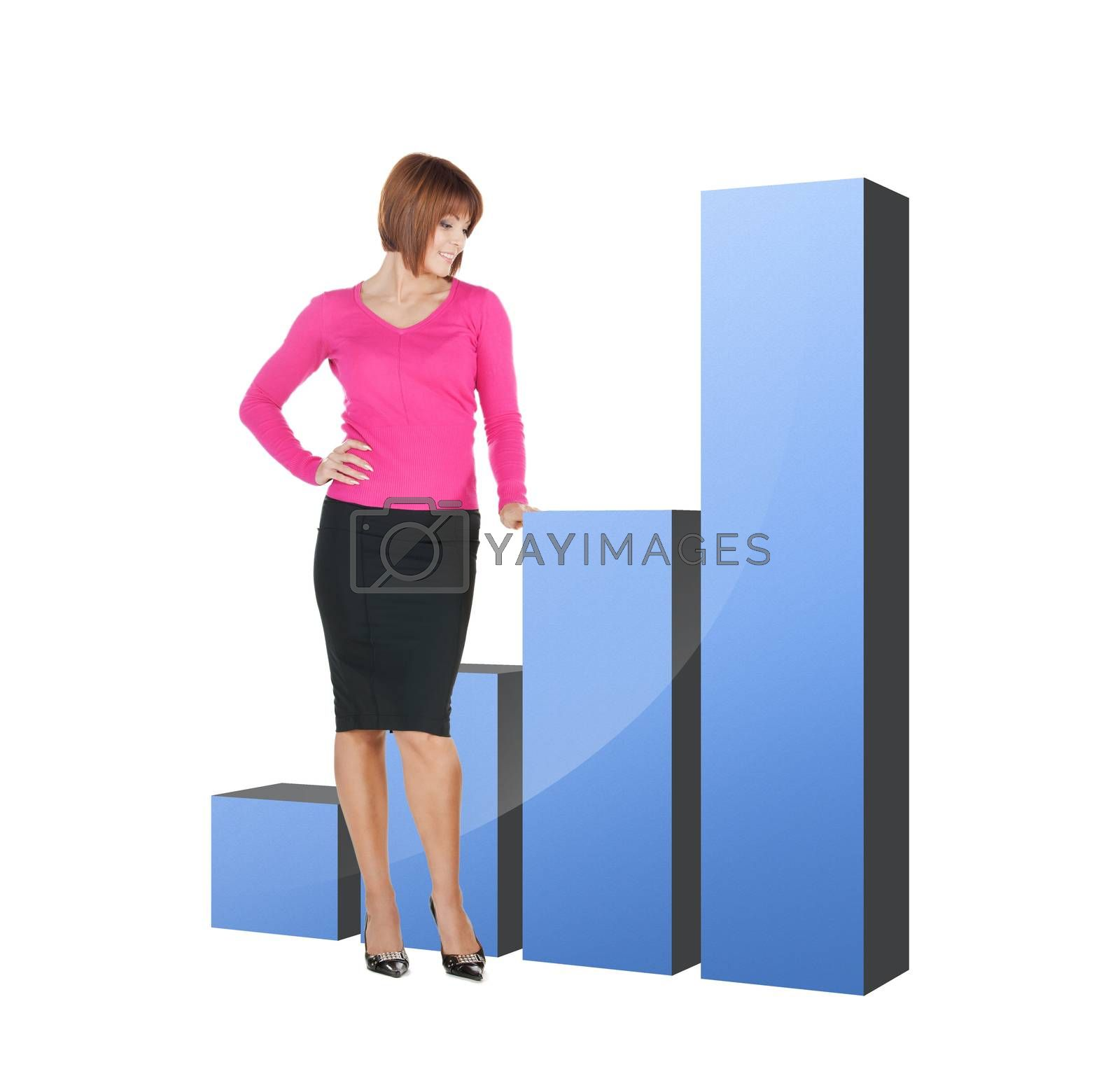 businesswoman pointing at big 3d chart by dolgachov