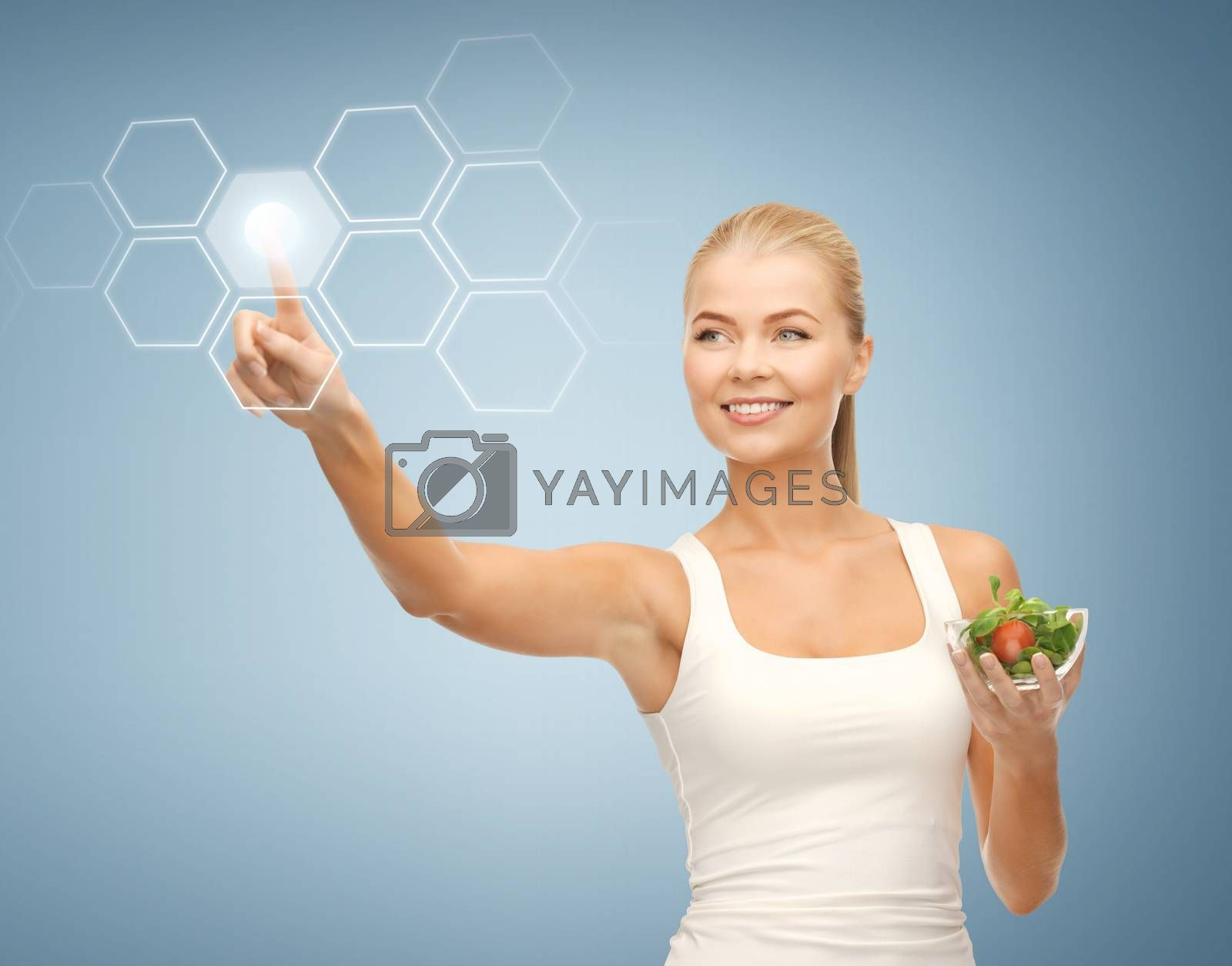 woman with salad and virtual screen by dolgachov