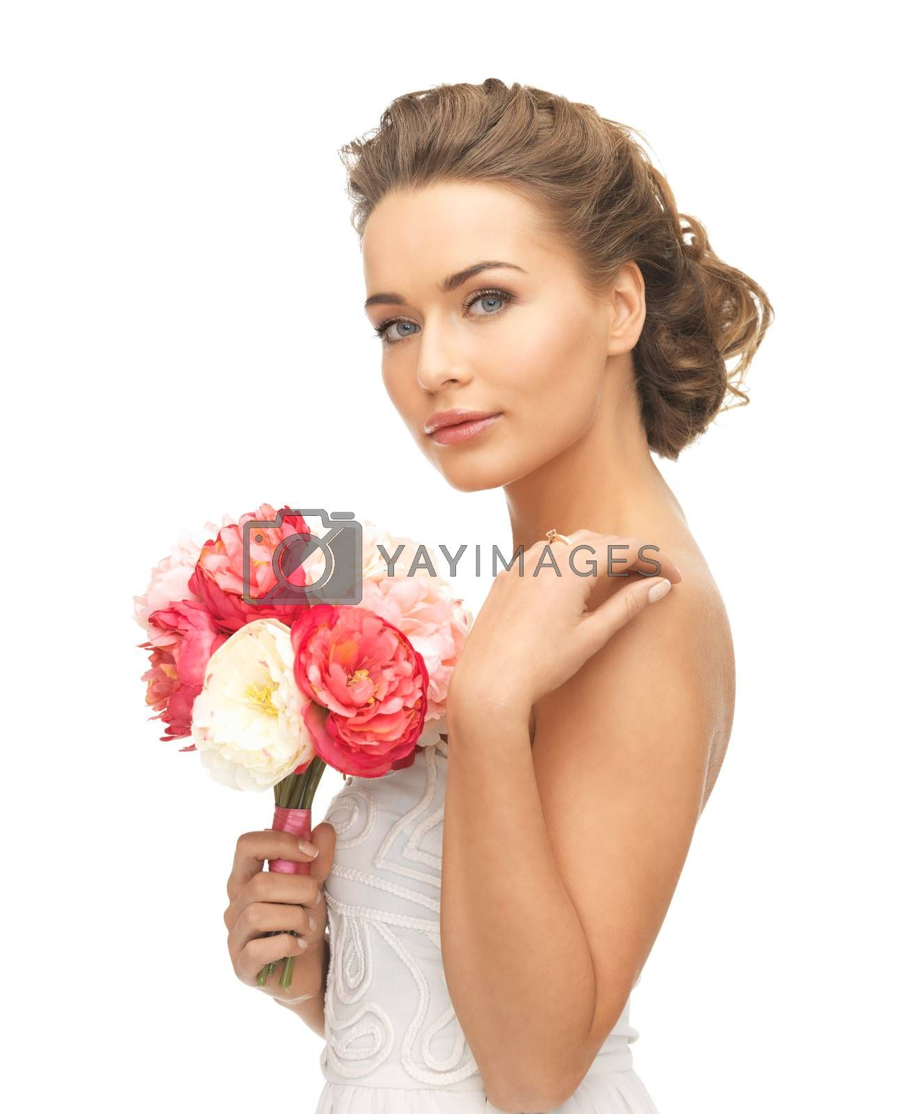 woman with bouquet of flowers by dolgachov