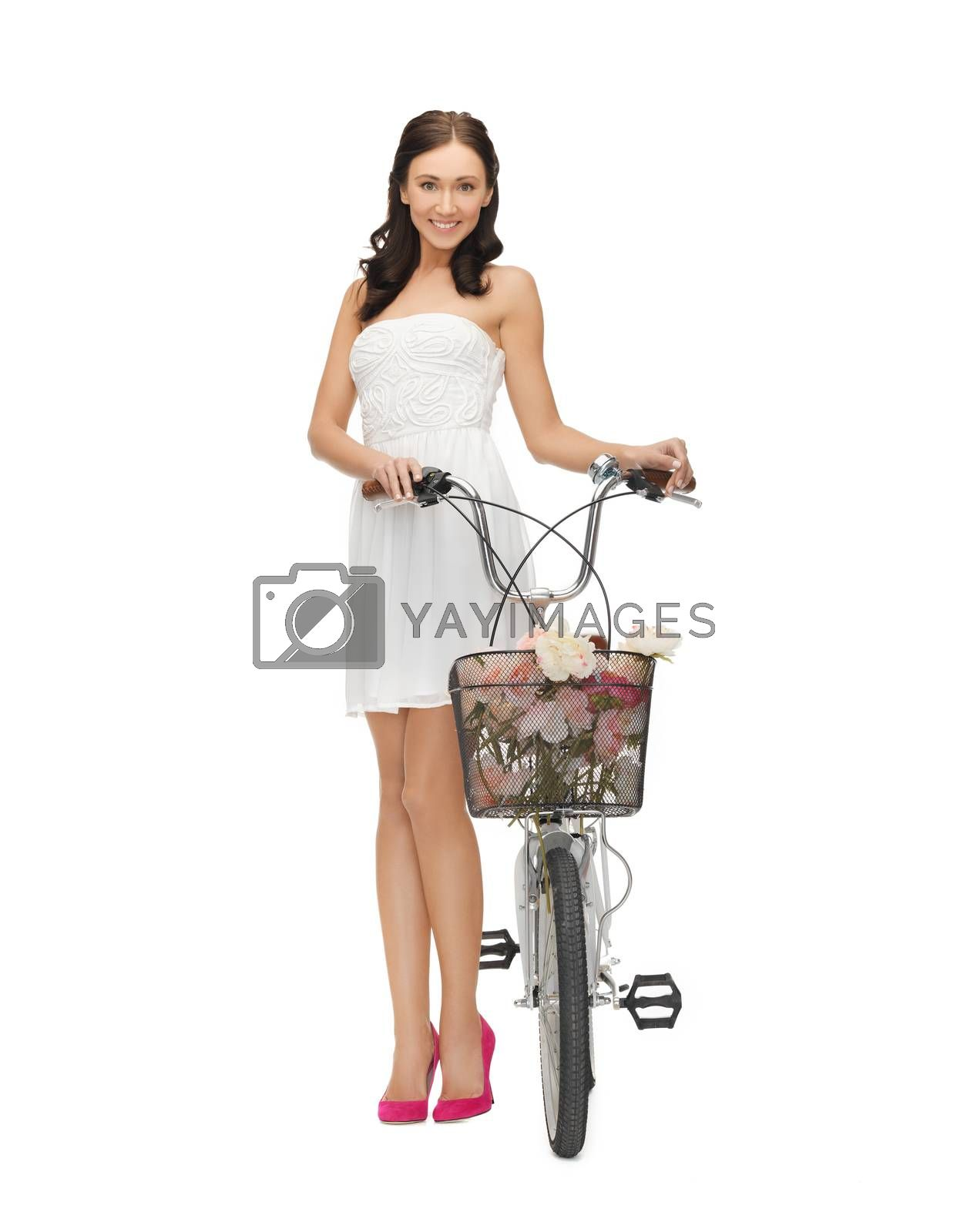 country girl with bicycle and flowers by dolgachov