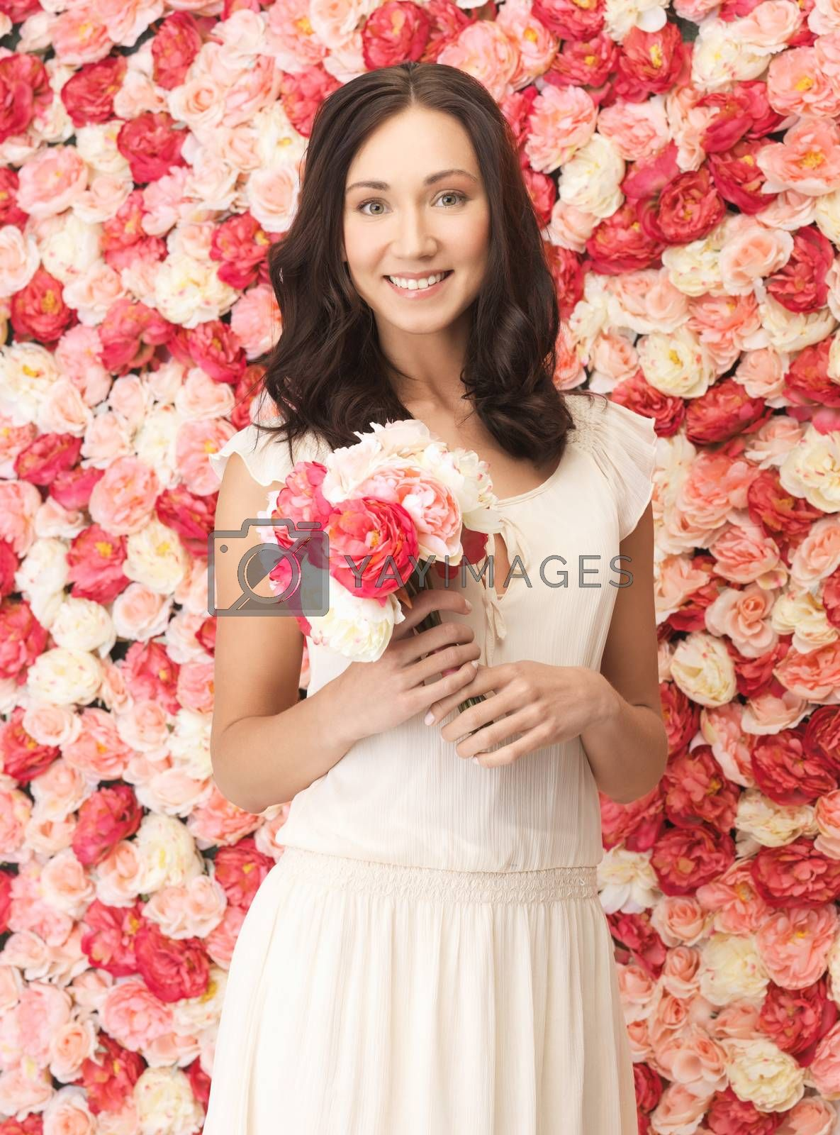 woman with bouquet and background full of roses by dolgachov