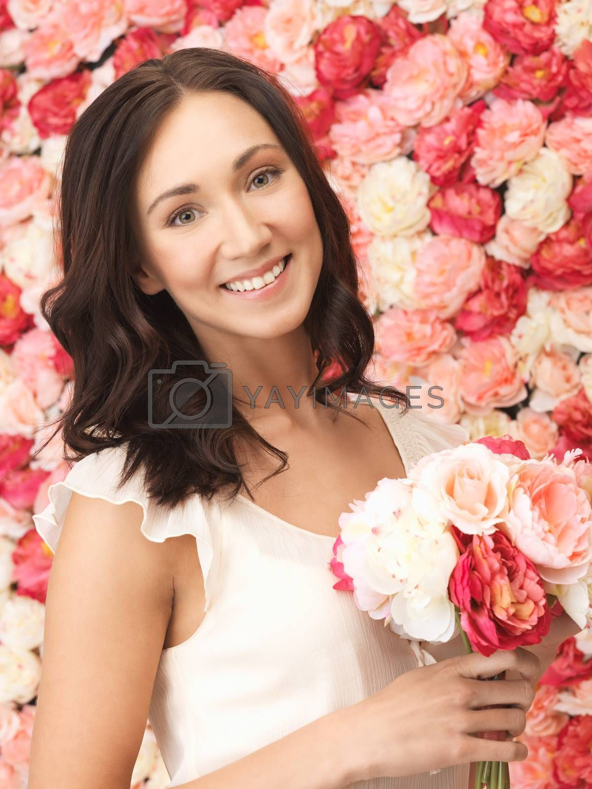 woman with background full of roses by dolgachov
