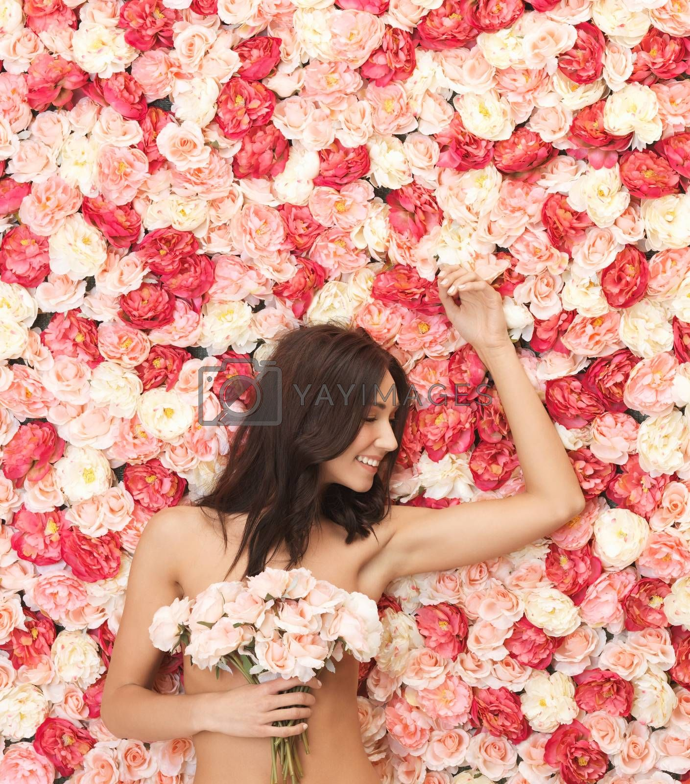 woman and background full of roses by dolgachov