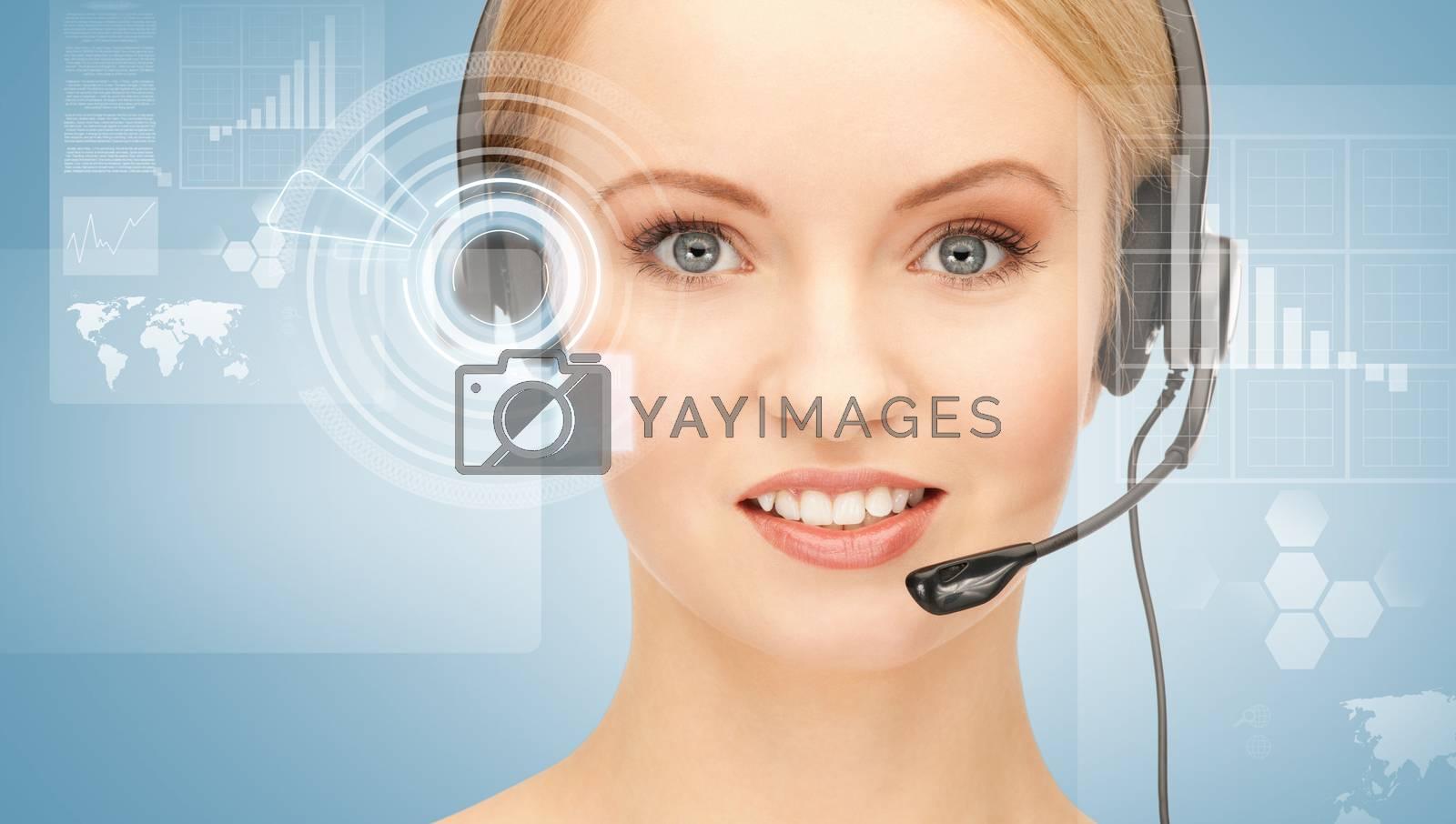 futuristic female helpline operator by dolgachov
