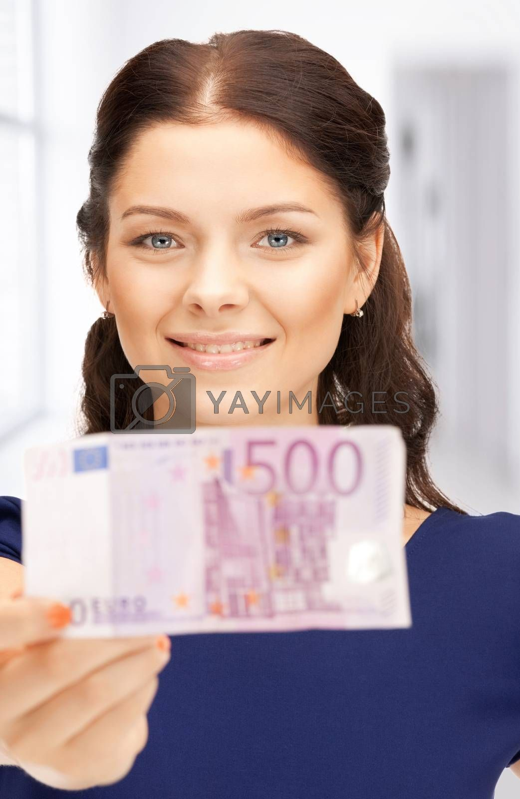 lovely woman with euro cash money by dolgachov