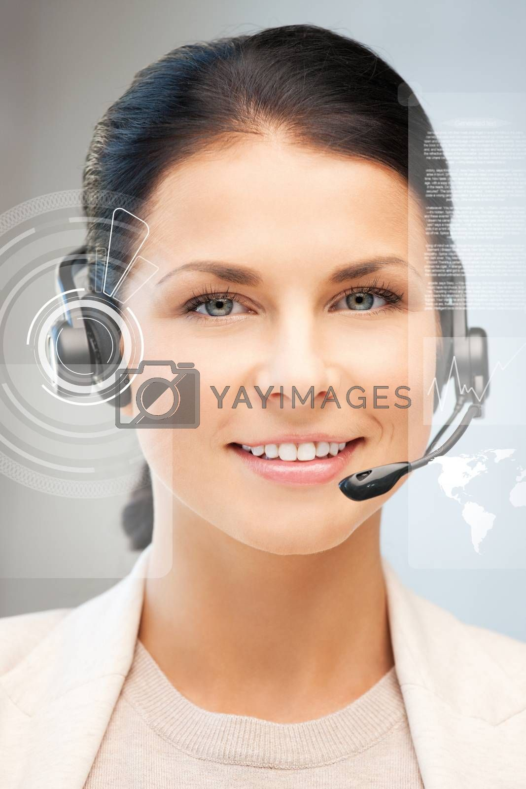 futuristic female helpline operator by dolgachov