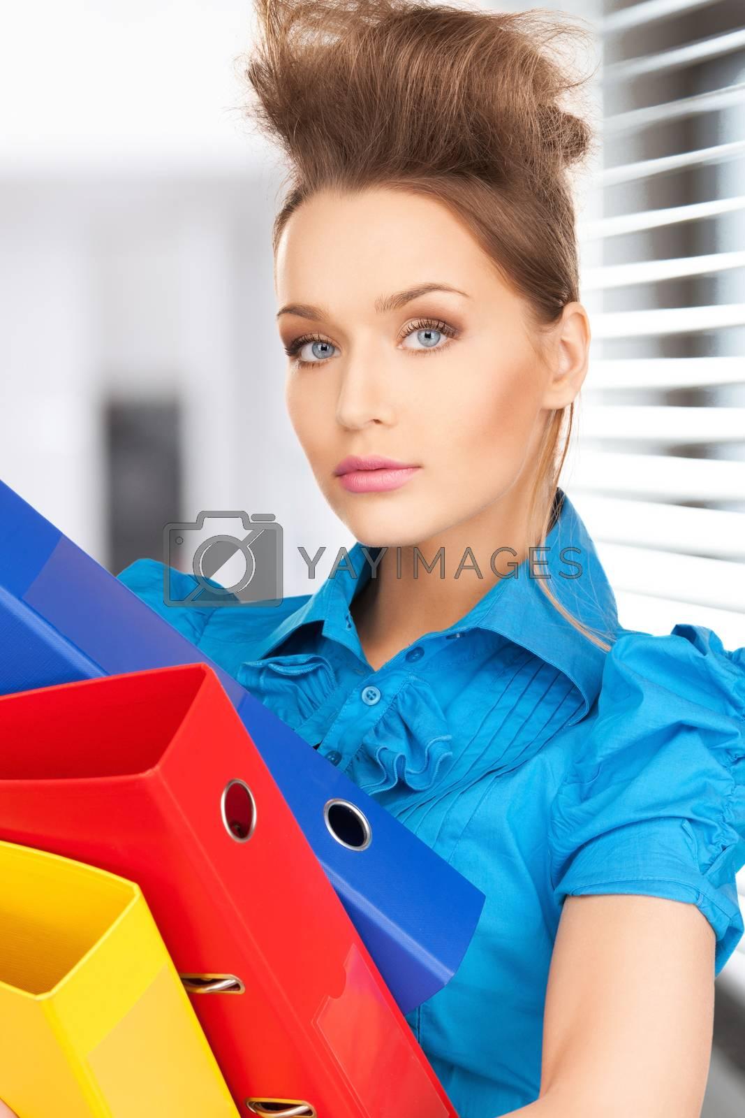 happy woman with folders by dolgachov