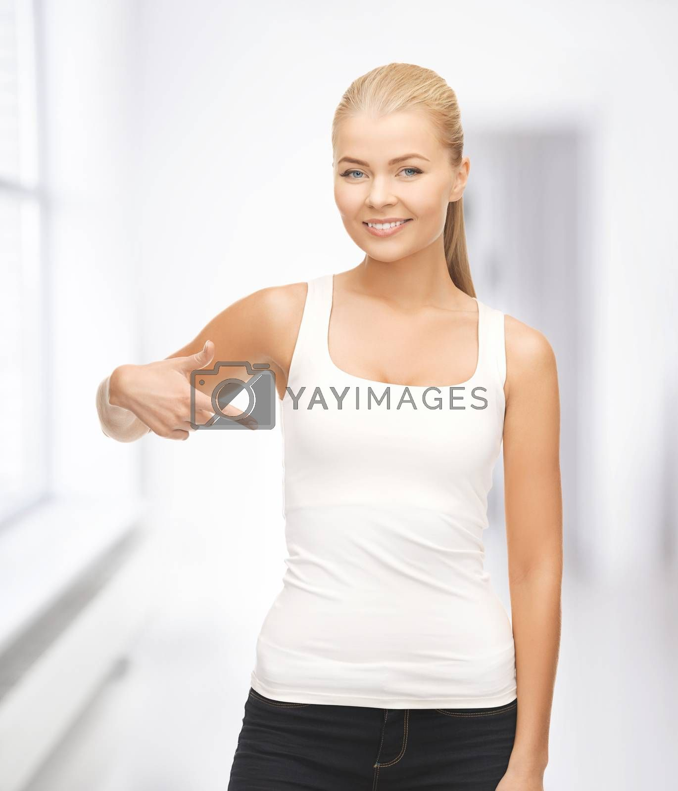 woman in blank white t-shirt pointing at herself by dolgachov
