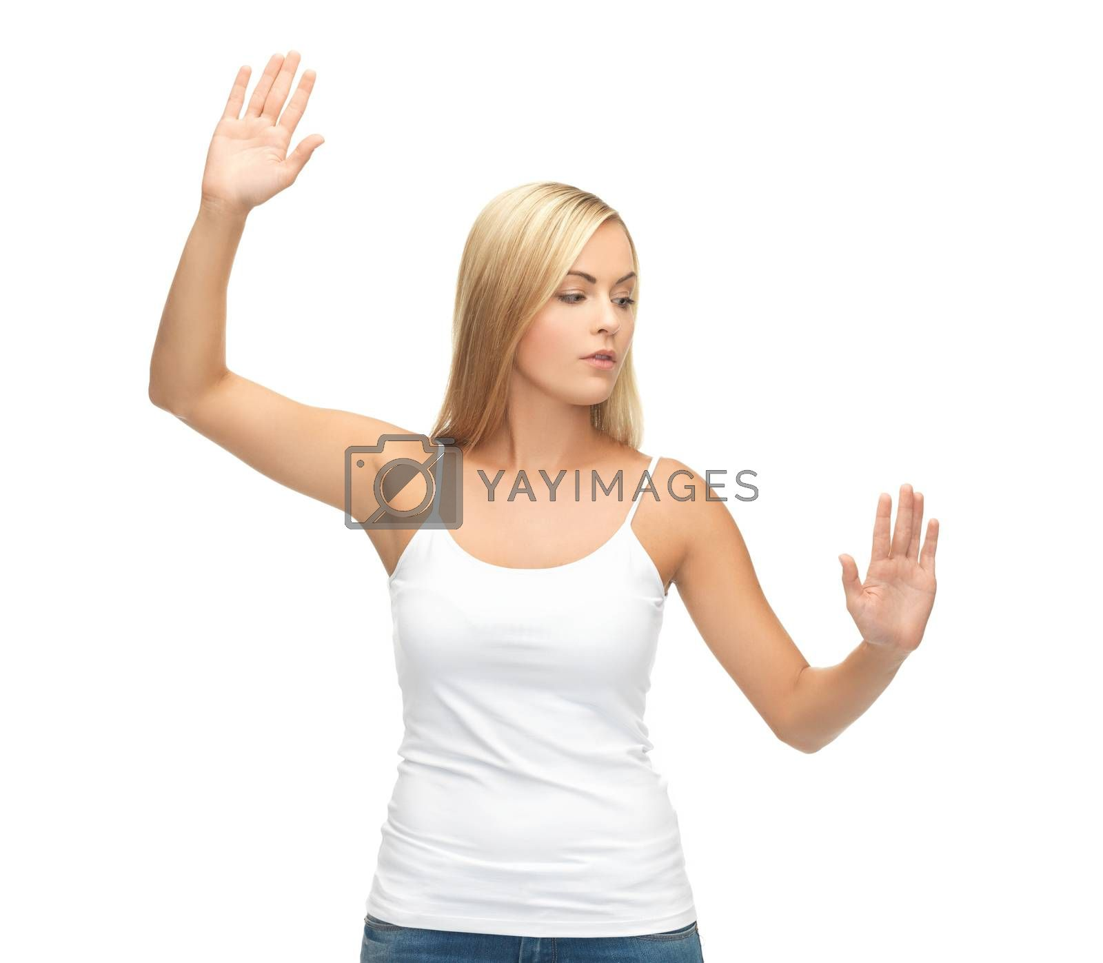 woman in white t-shirt pressing imaginary button by dolgachov