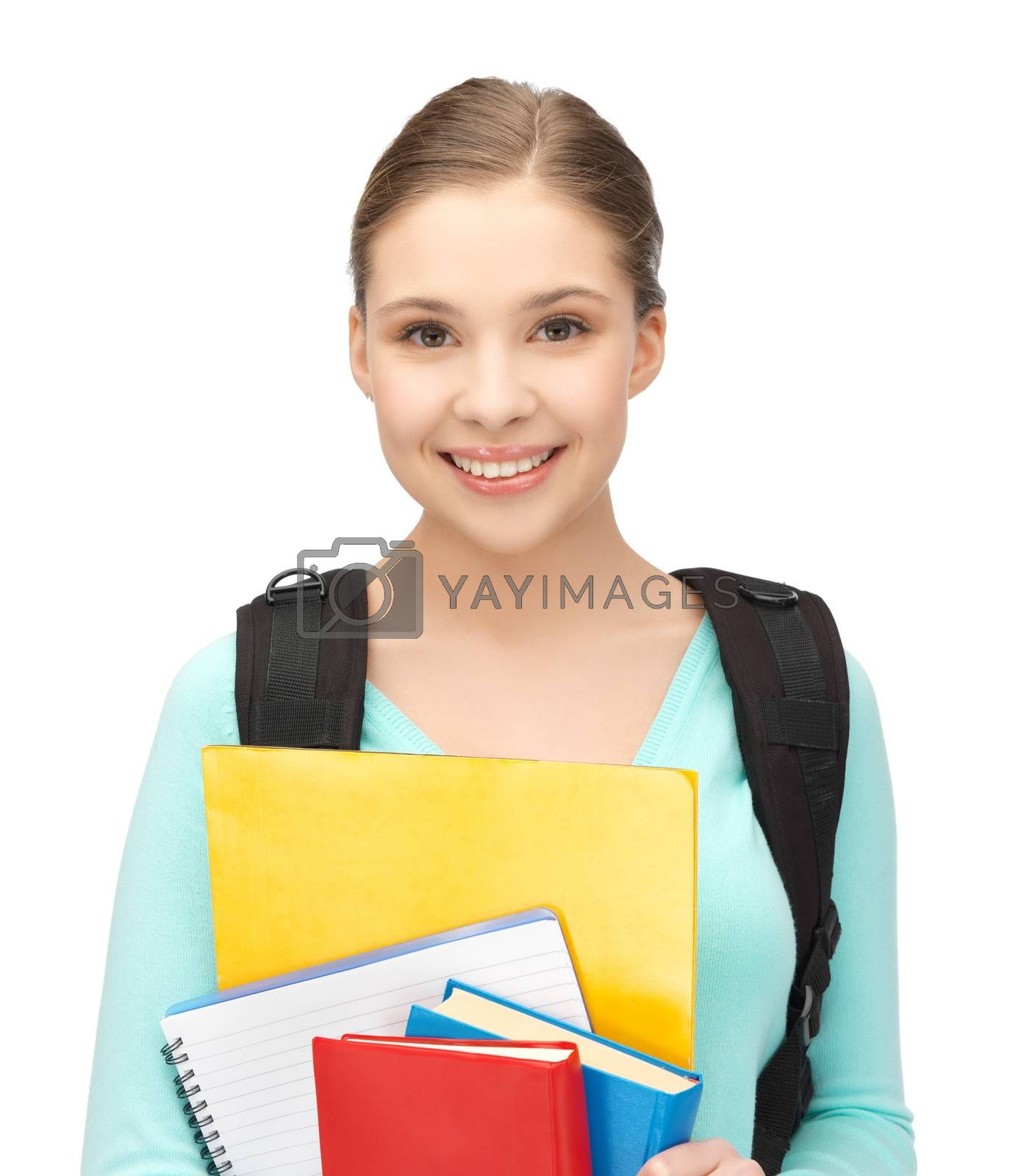 student with books and schoolbag by dolgachov