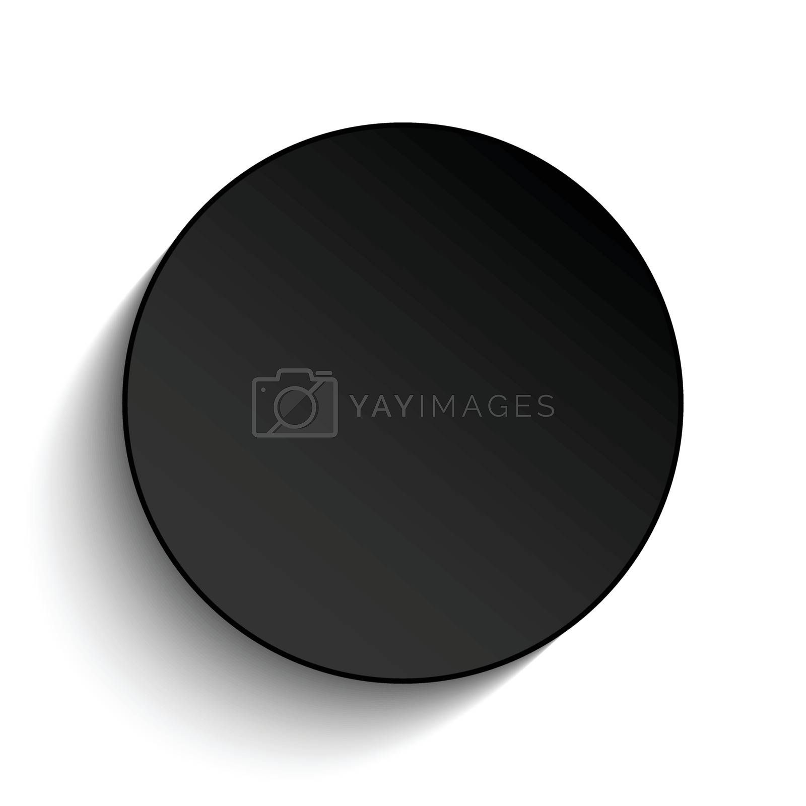 Black Circle Button on White Background by gubh83