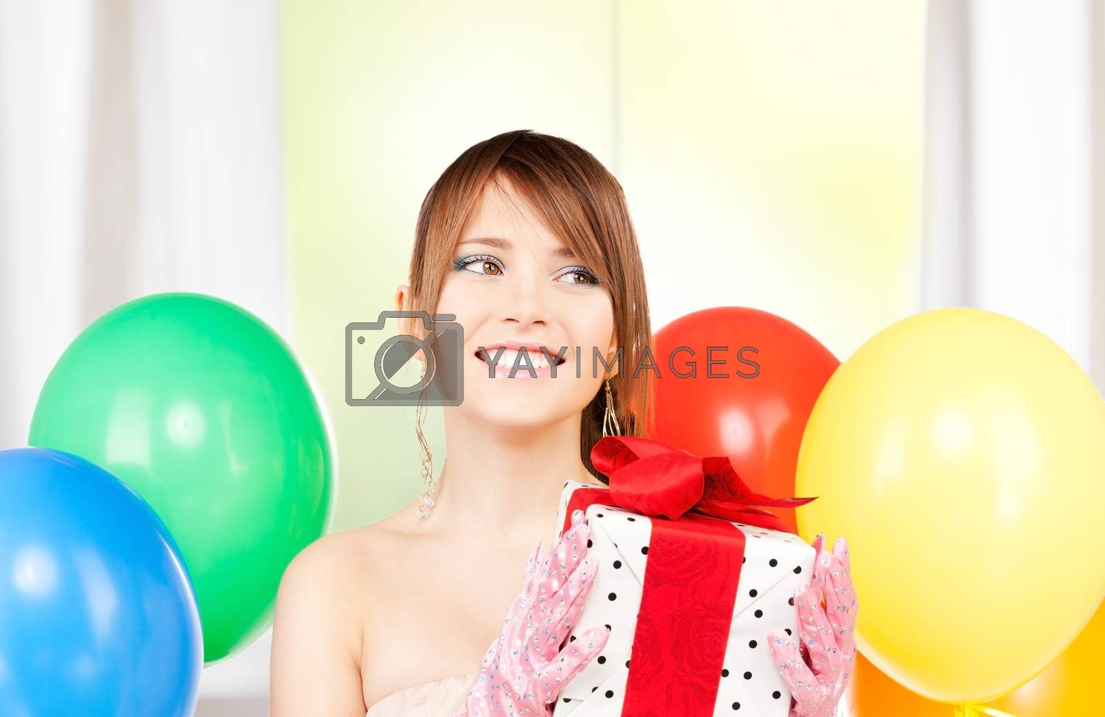 party girl with balloons and gift box by dolgachov