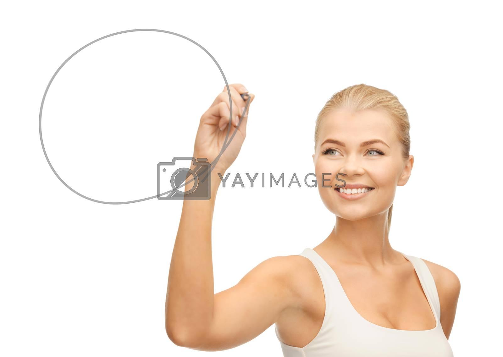 woman drawing round shape by dolgachov