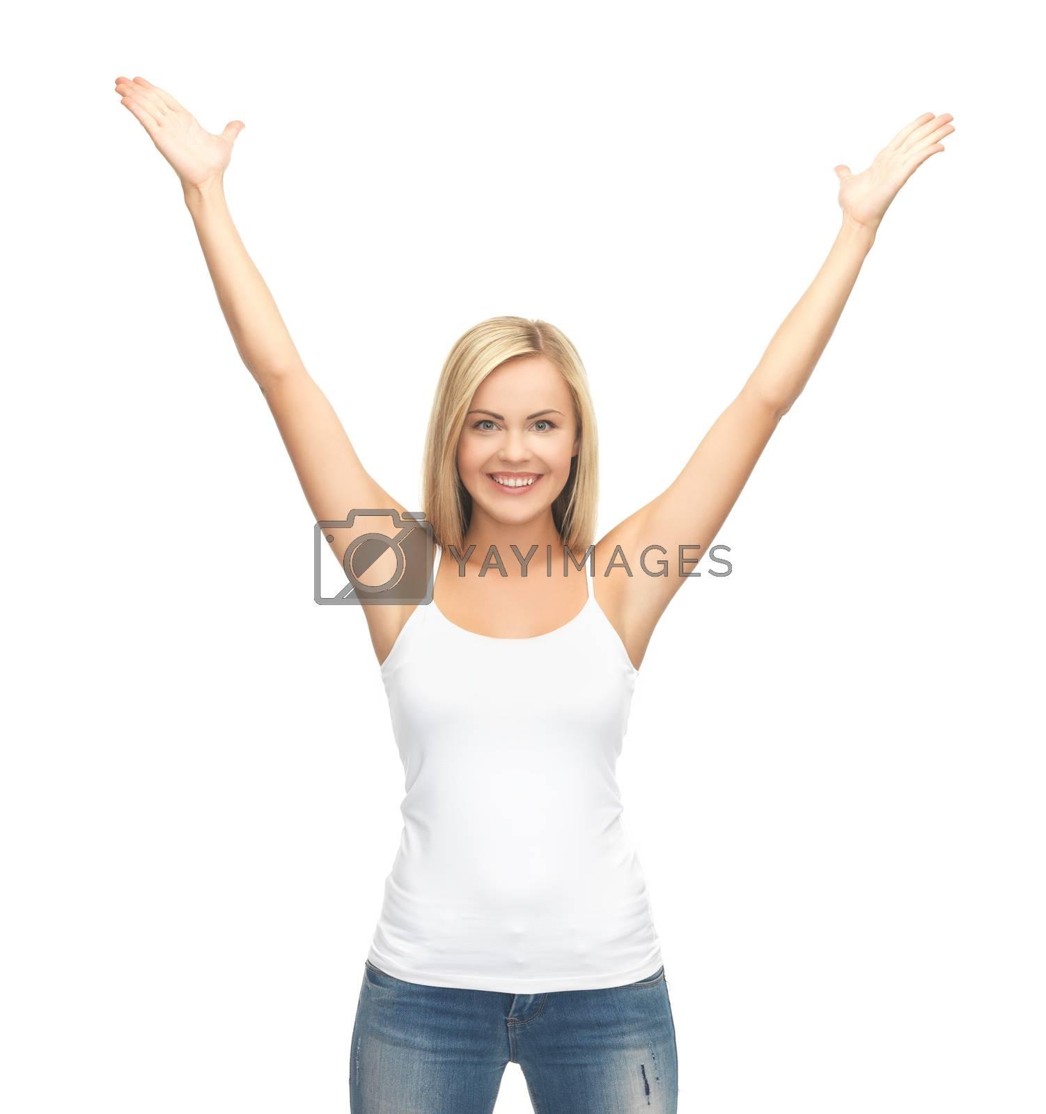 woman in blank white t-shirt by dolgachov