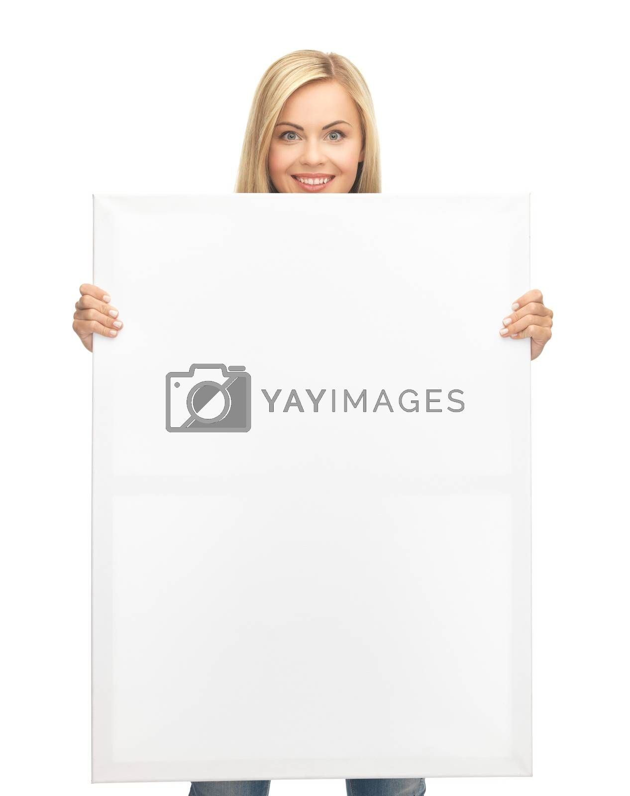 woman with white blank board by dolgachov