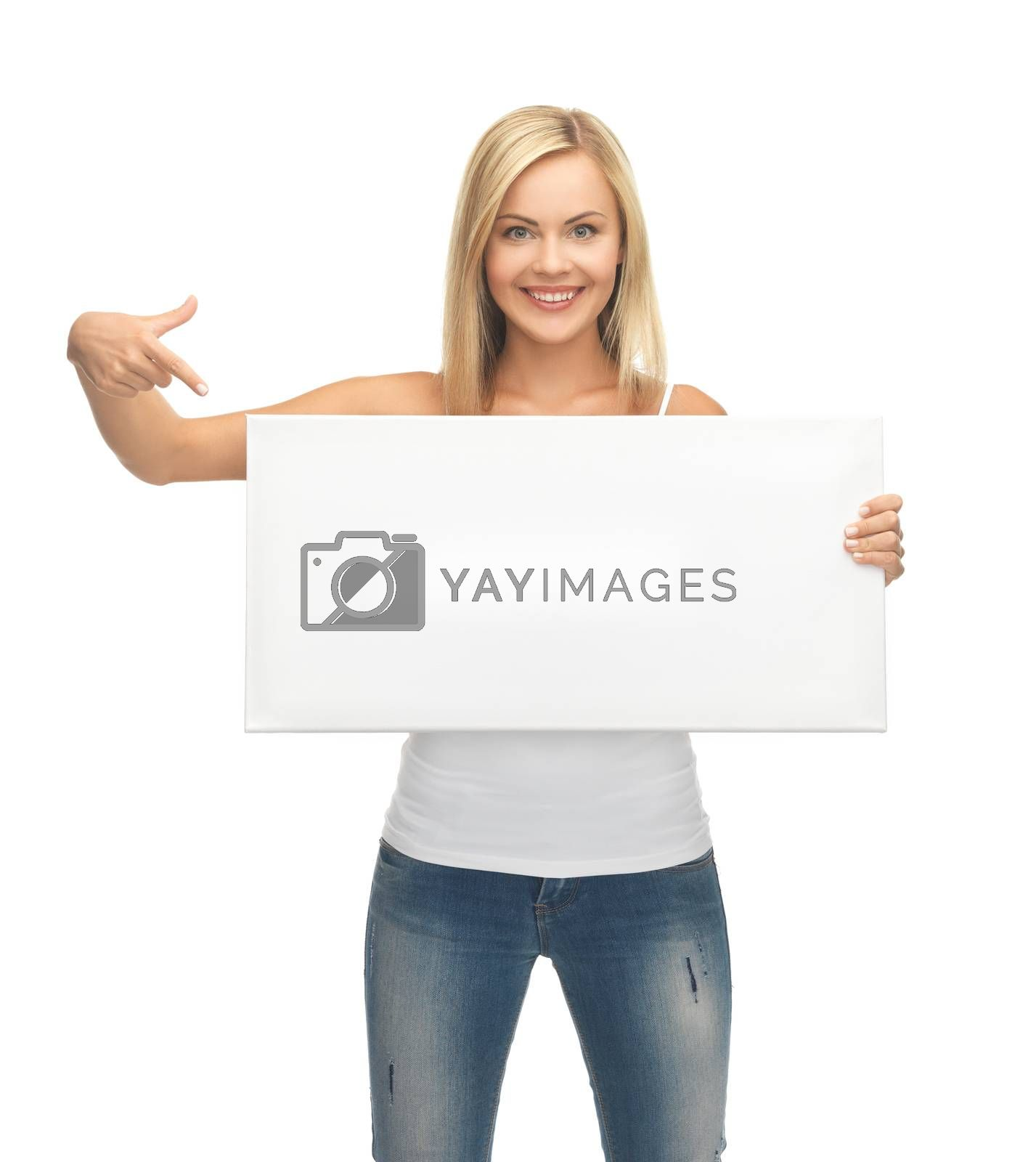 woman with white blank board by dolgachov