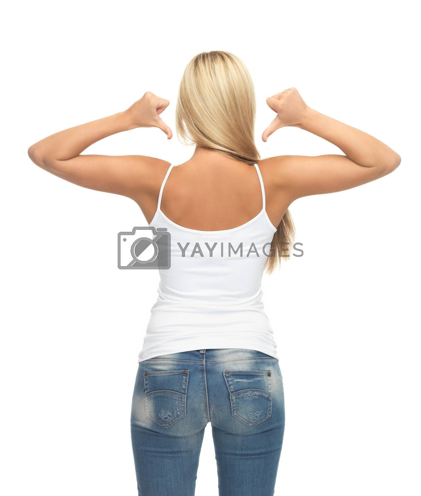 woman in blank white t-shirt showing back by dolgachov