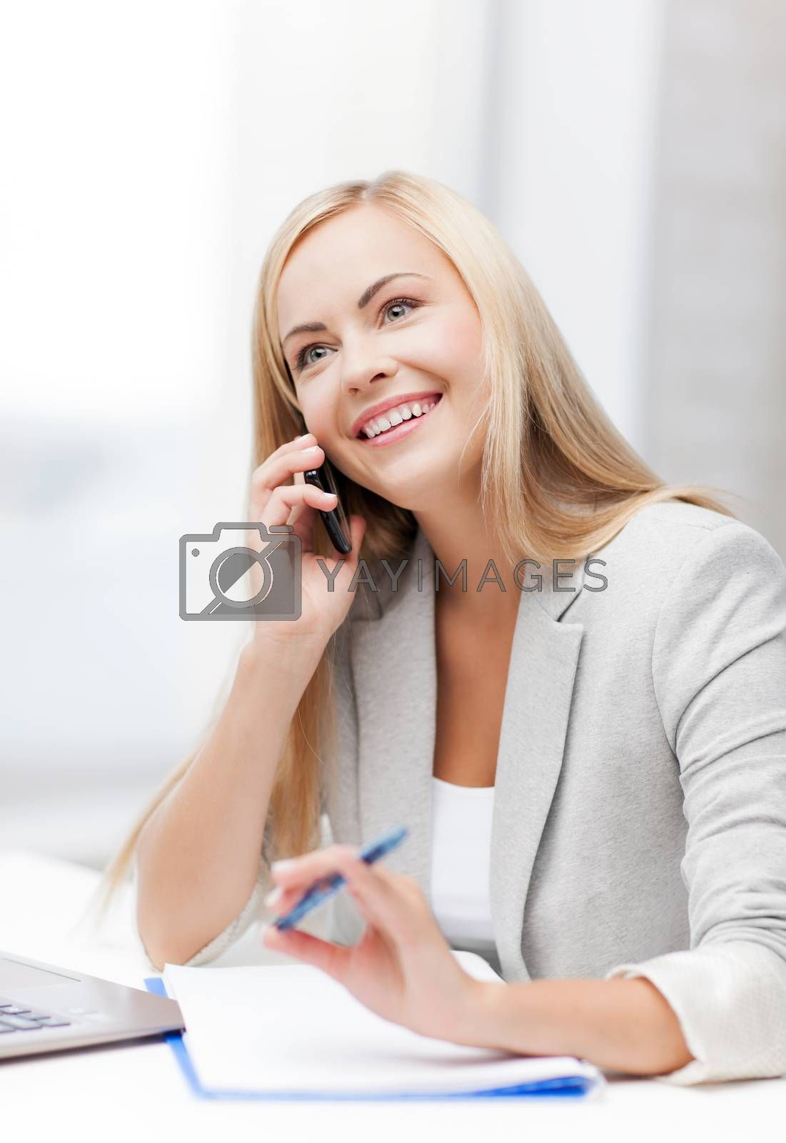 businesswoman with phone by dolgachov