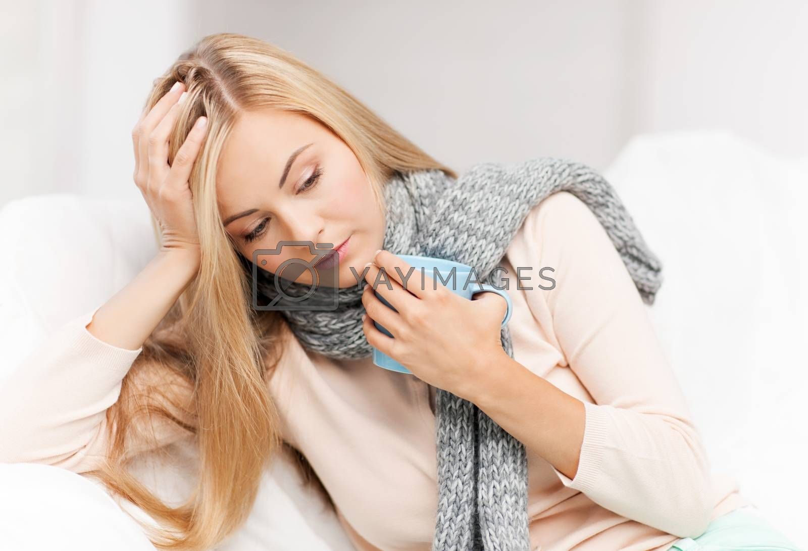 diseased woman with cup of tea by dolgachov
