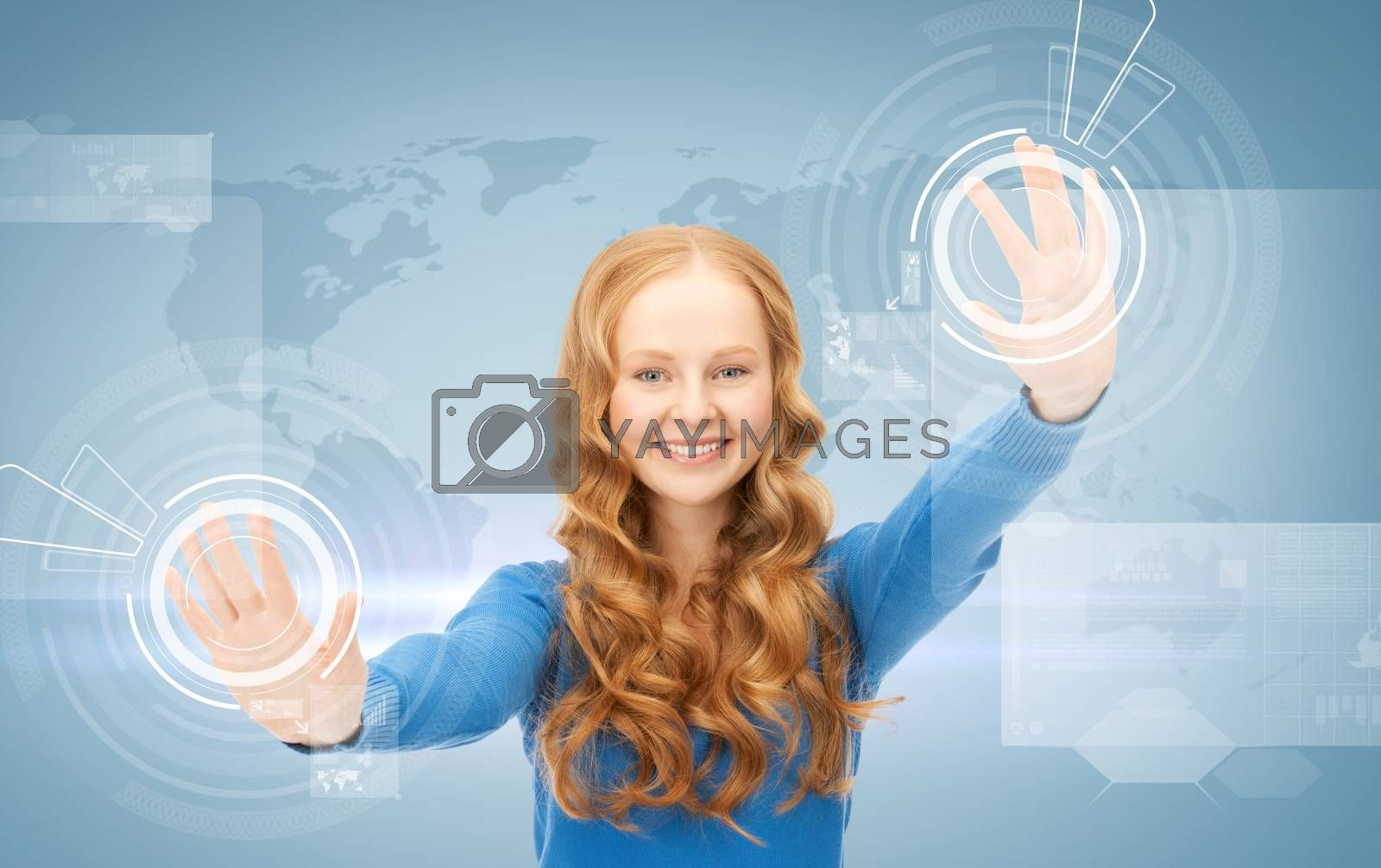 businesswoman working with virtual screens by dolgachov