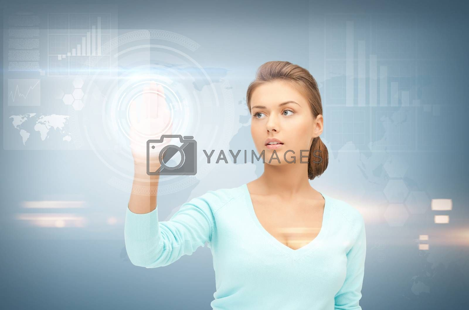 businesswoman working with something imaginary by dolgachov