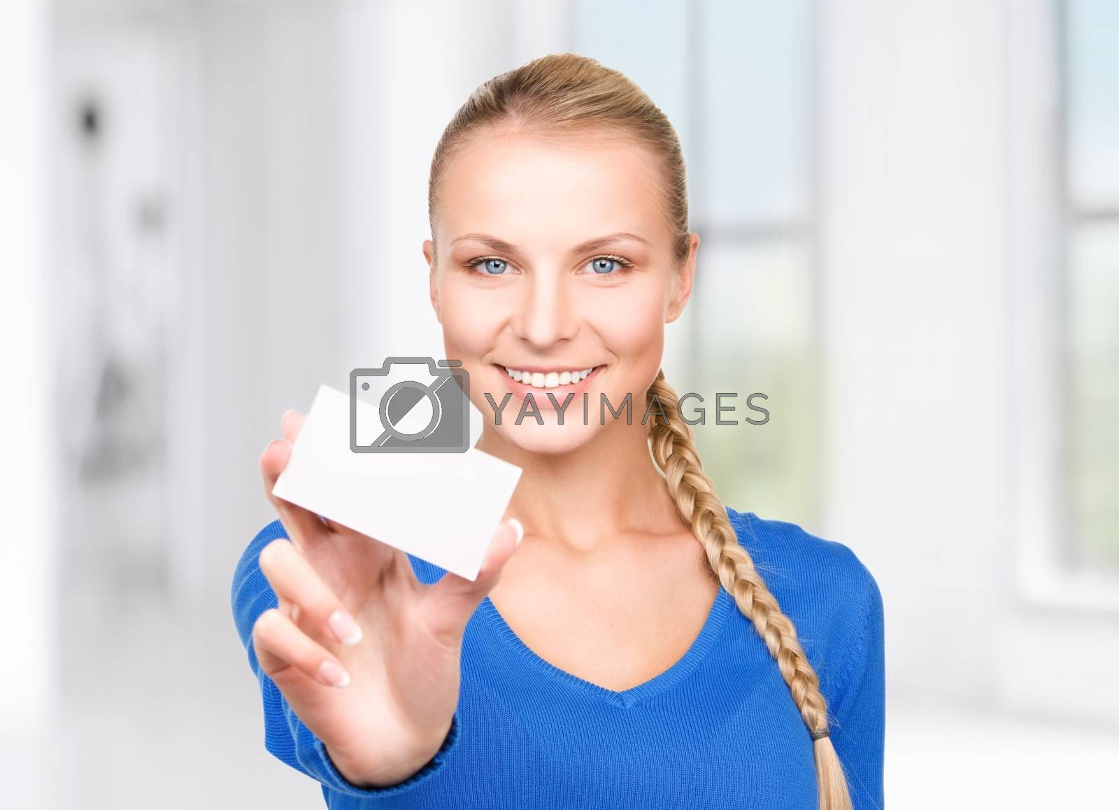 happy woman with business card by dolgachov