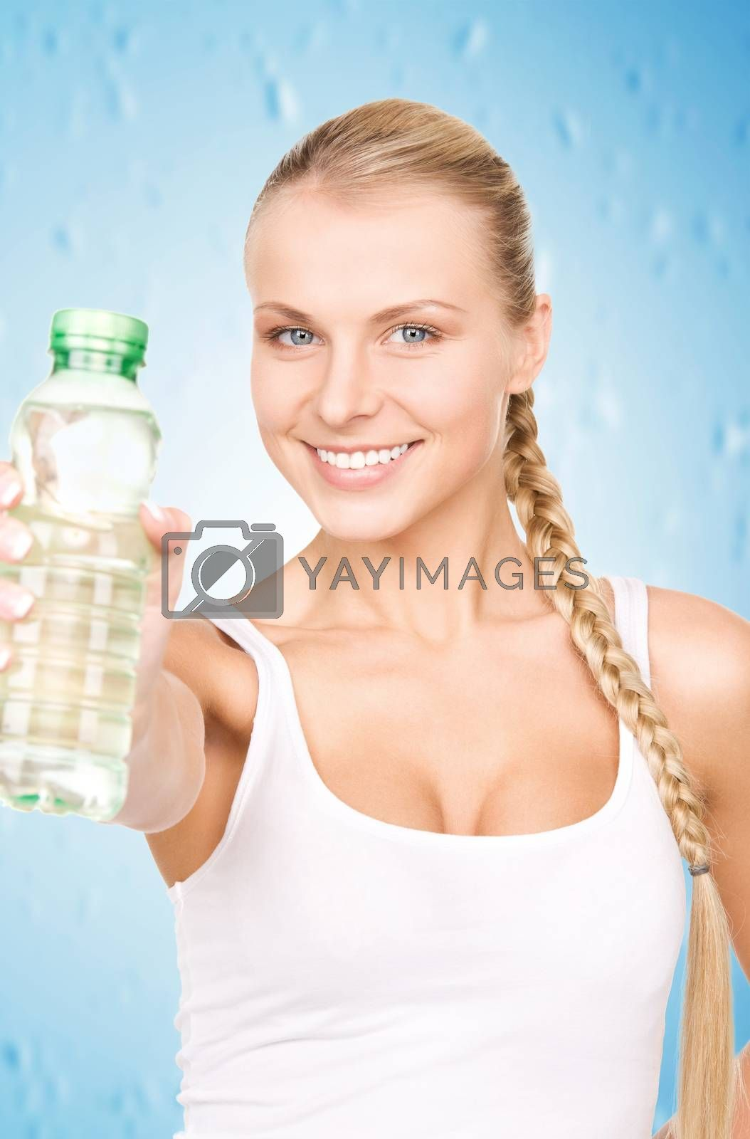 beautiful woman with bottle of water by dolgachov