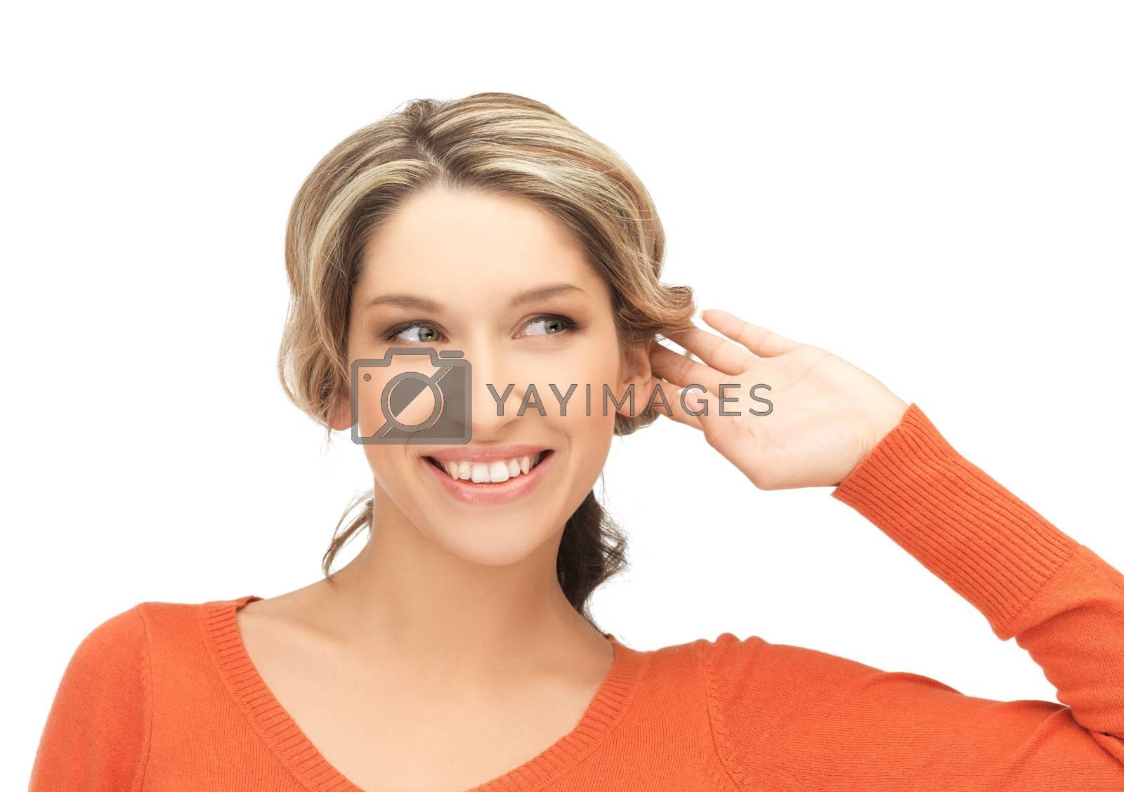 happy woman listening gossip by dolgachov