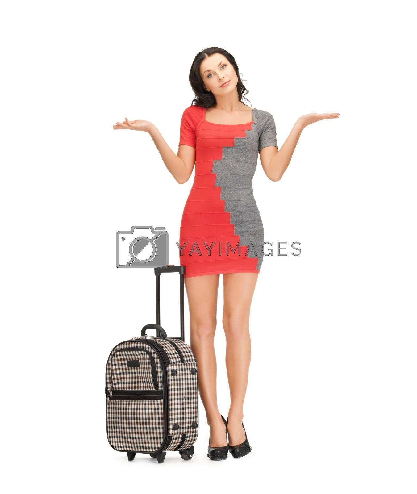 doubting woman with suitcase by dolgachov
