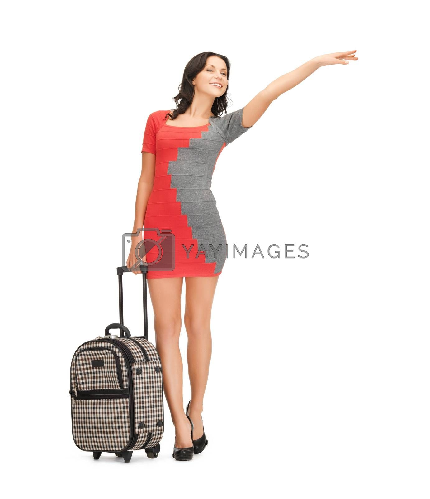 smiling woman with suitcase by dolgachov