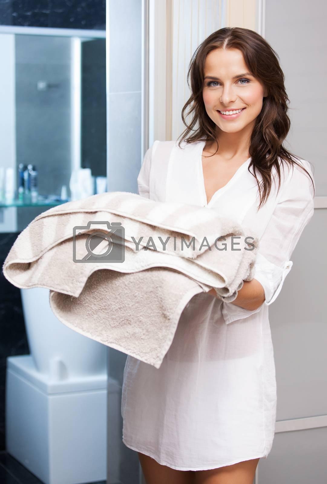 pretty woman with towels by dolgachov