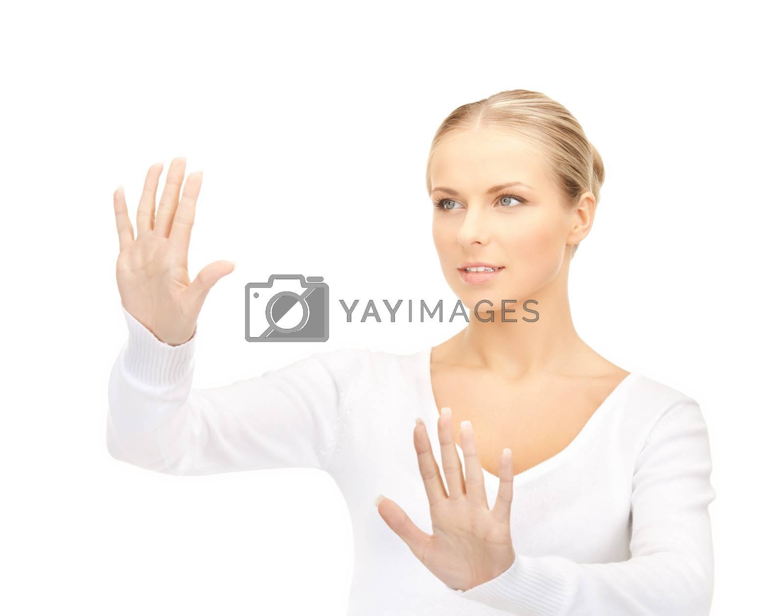 woman working with virtual screen by dolgachov