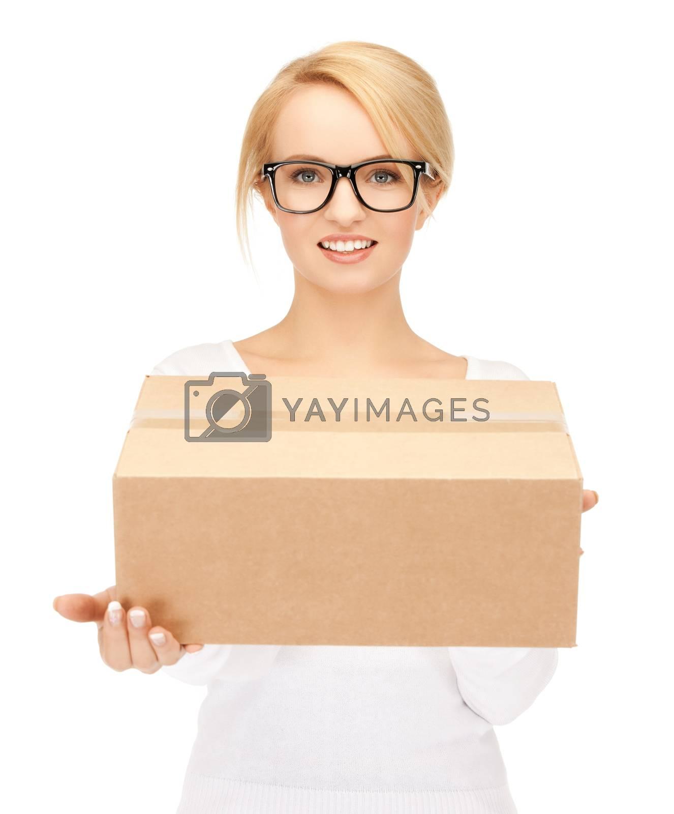 woman with cardboard box by dolgachov